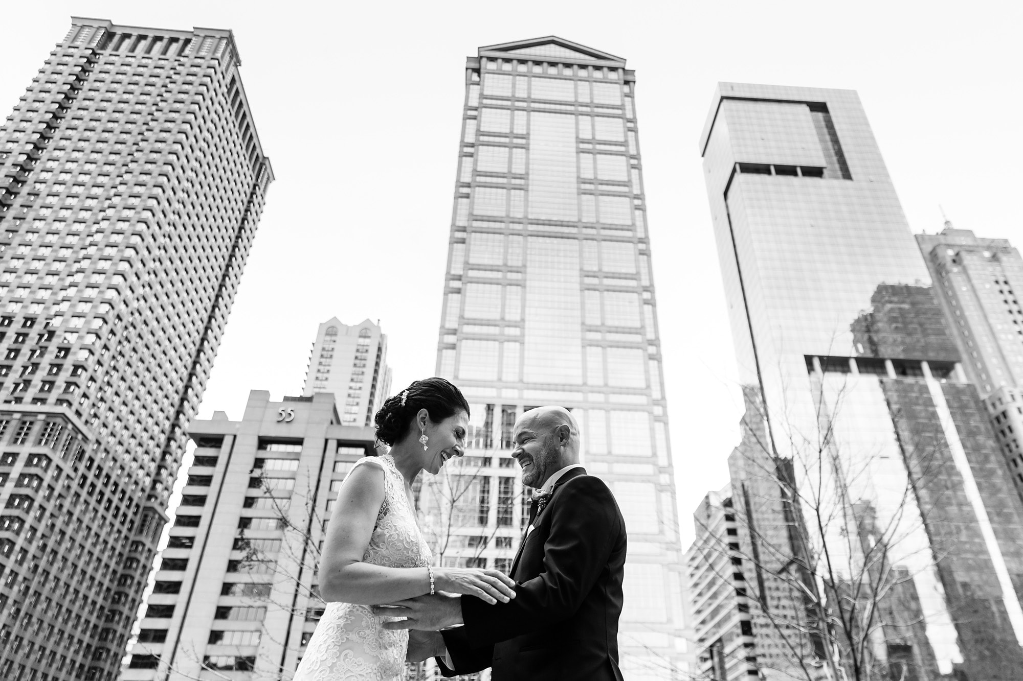 Christina and Brad see each other for the first time on their wedding day outside the Westin Chicago River North
