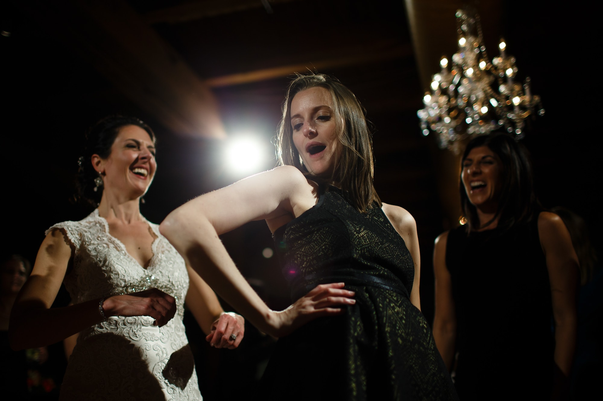 Guests dance during Brad and Christina's Bridgeport Art Center wedding