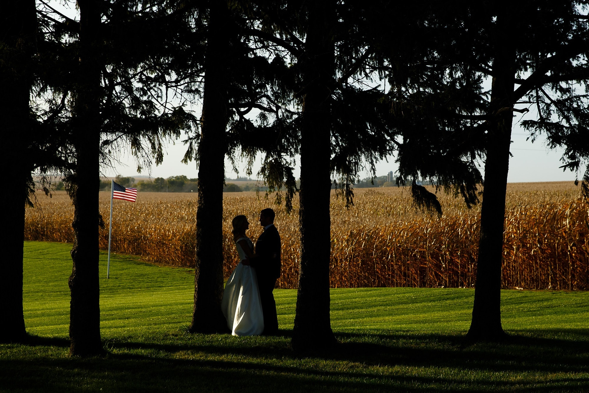 Shanon and David share a moment during their Field of Dreams wedding near the cornfield