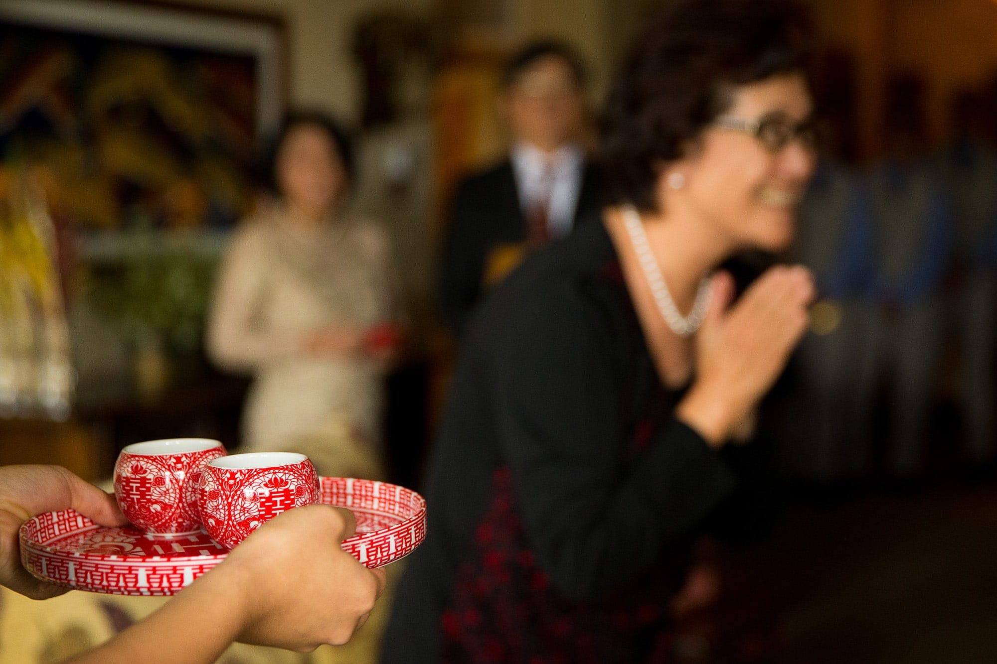 Tea is presented during a traditional Chinese tea ceremony before the wedding
