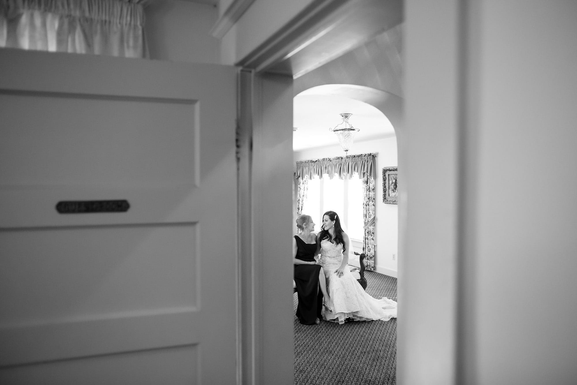 Gina and her monther have a moment before her wedding inside Willow Ridge Manor