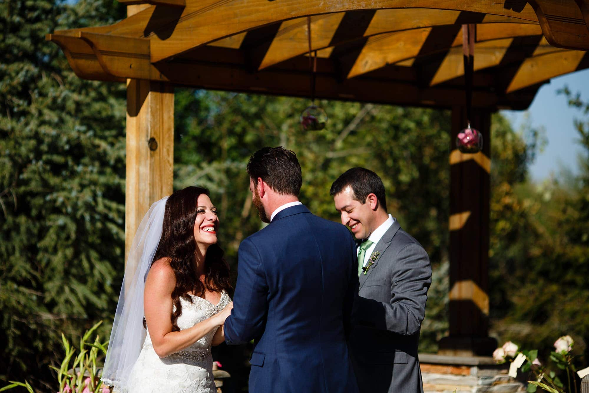 Gina and Blake share a moment during their Willow Ridge Manor wedding