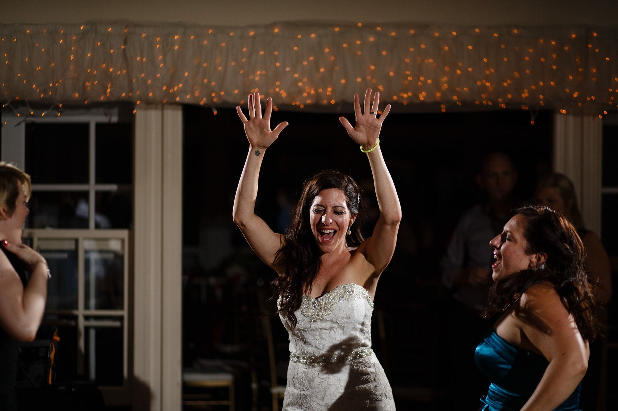 Gina lets loose during the reception