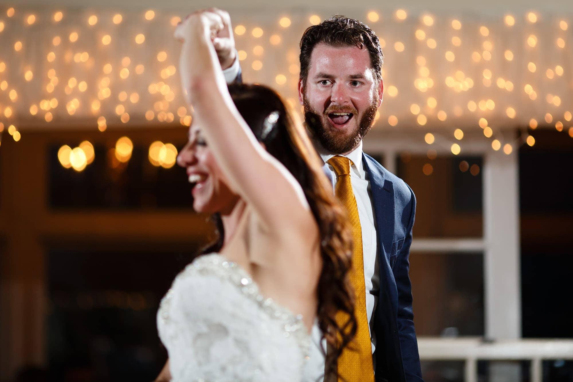 Blake spins gina during a dance at their Willow Ridge Manor wedding