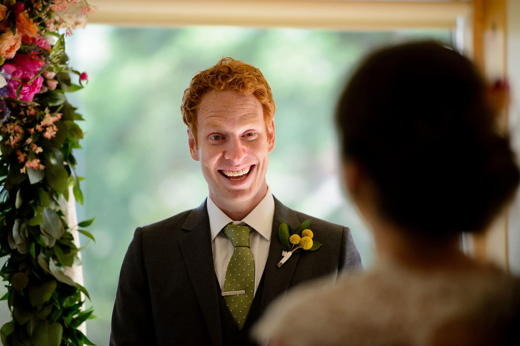 A groom's reaction to seeing his bride for the first time