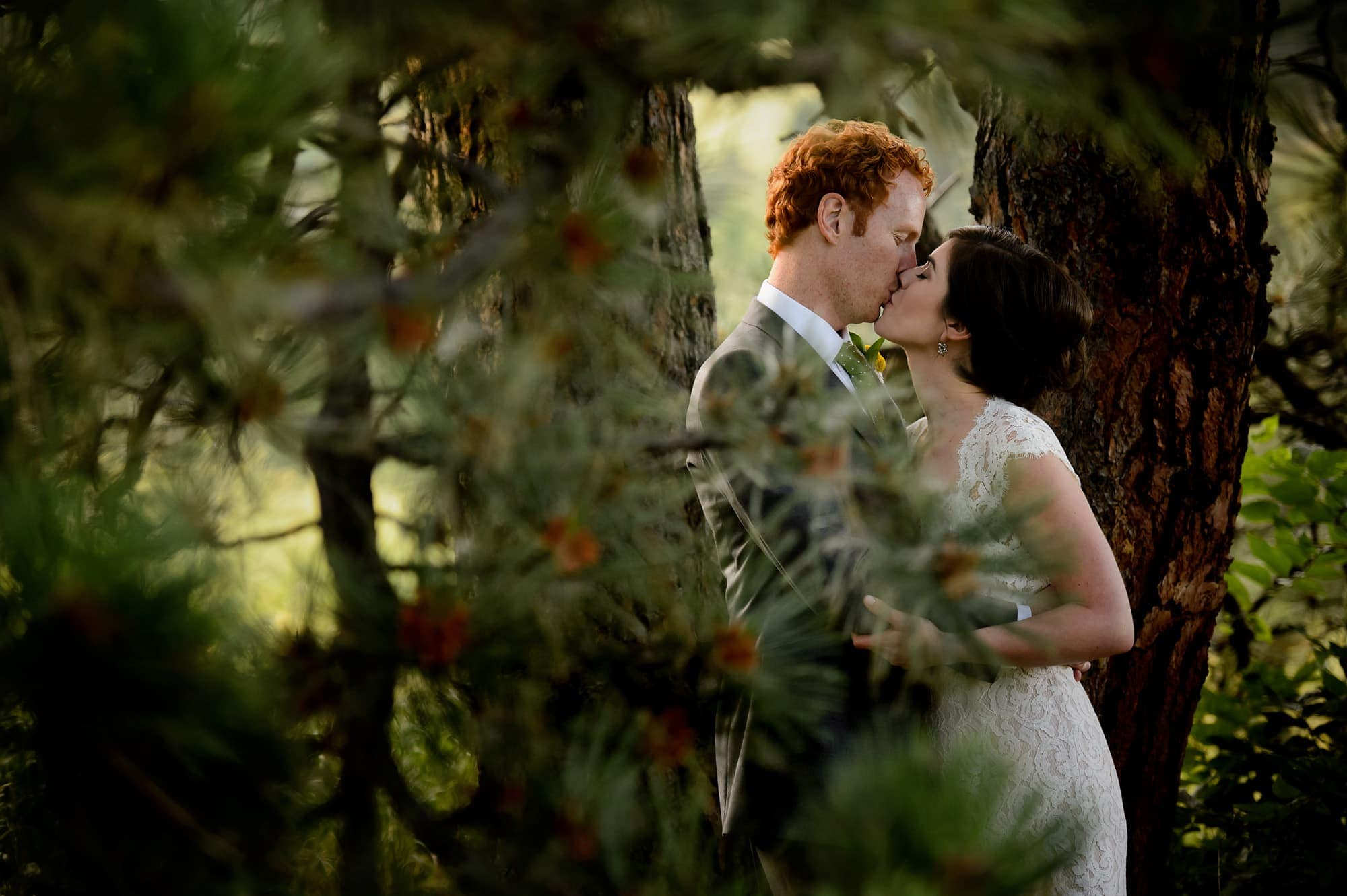 The couple kiss in a grove of pine trees in Boulder
