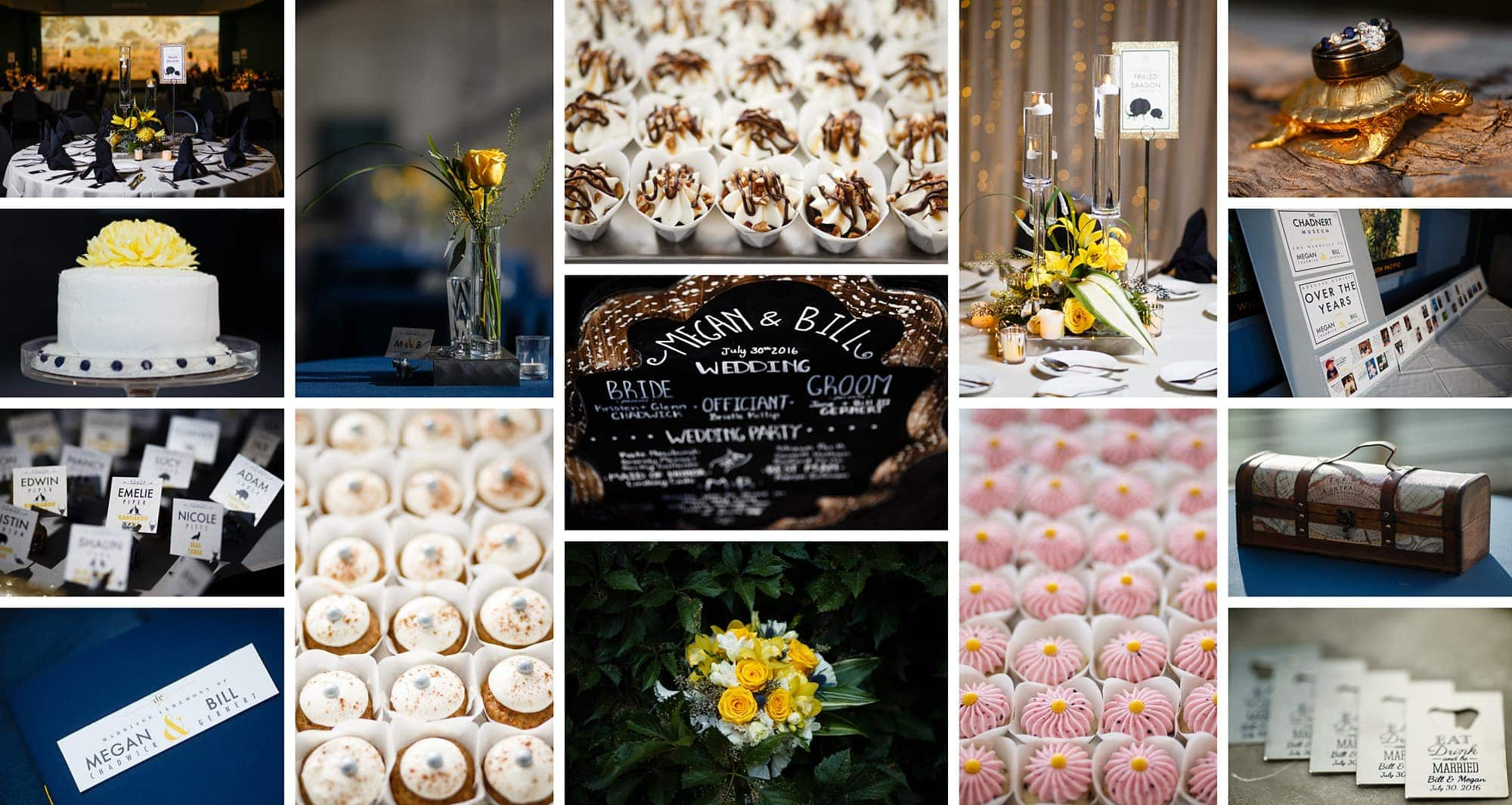 Details from the yellow and blue themed wedding at the Denver Museum of Nature and Science along with cupcakes and flowers
