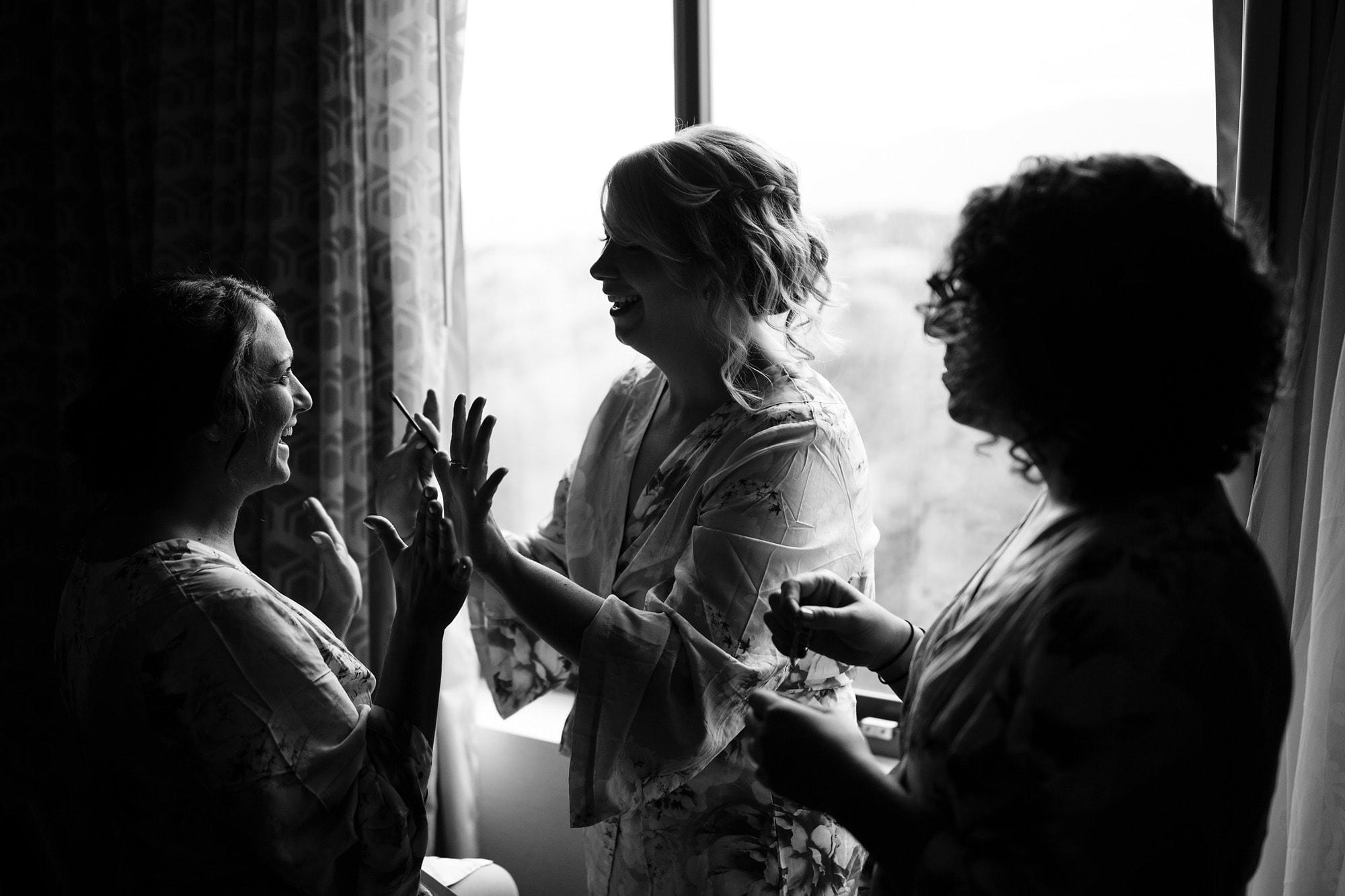 Bridesmaids in robes at Colorado Springs Marriott