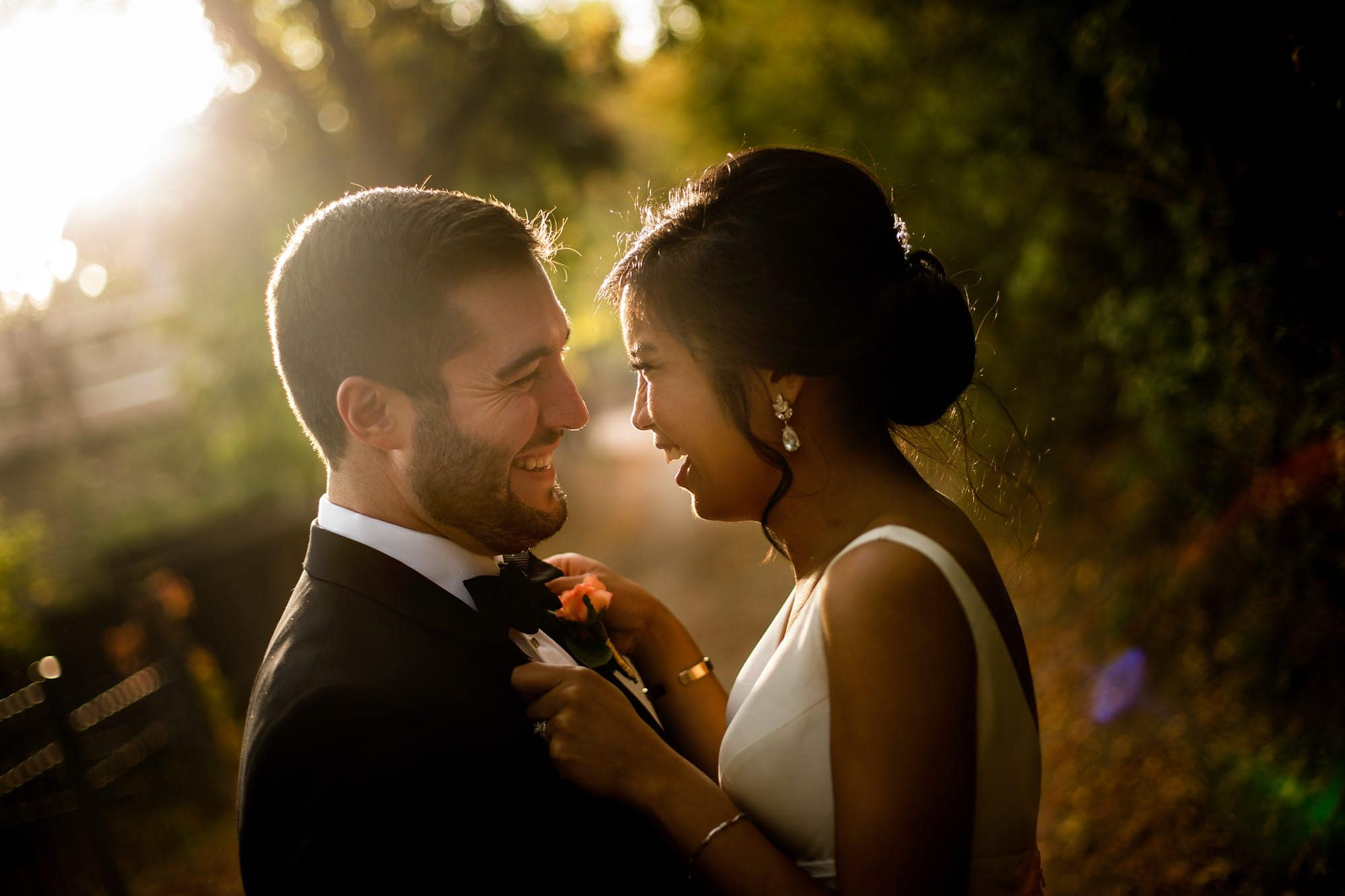 Bryan and Megan share a moment together in the last light following their fall wedding