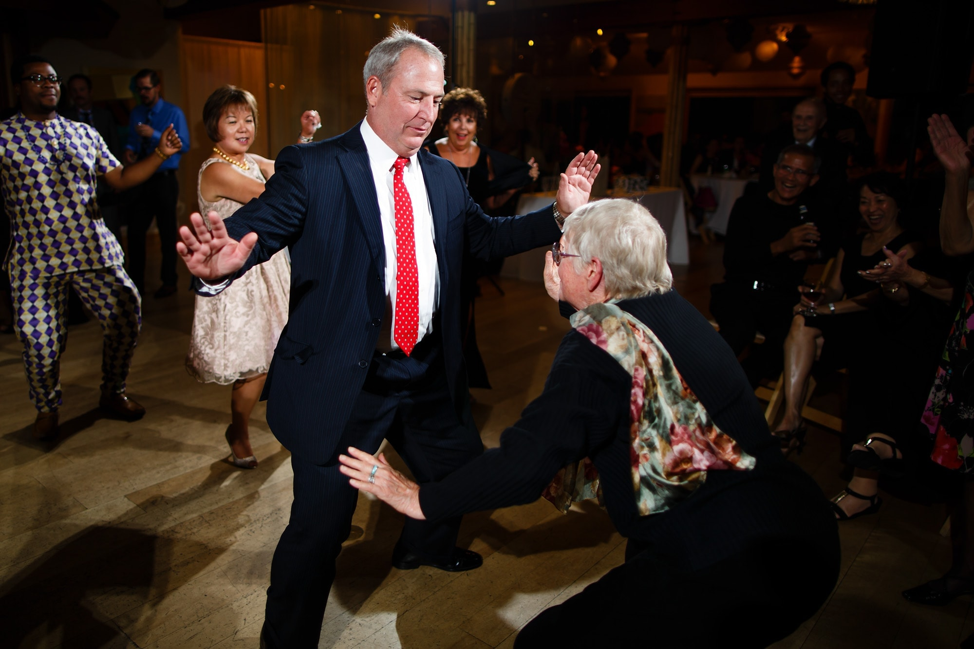 Guests dance at the wedding reception at Rembrandt Yard
