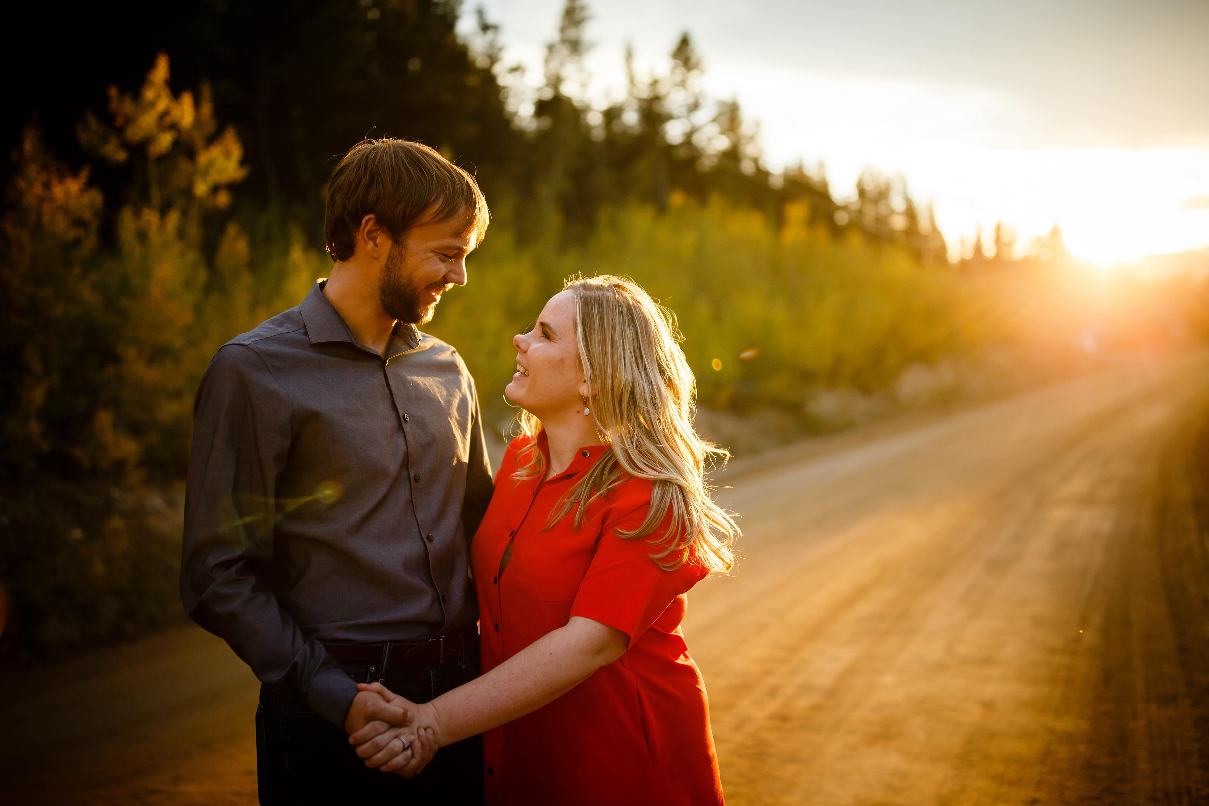 Coza and Joel share a moment during their fall Golden engagement on Gap road inside Golden Gate Canyon State Park in Colorado