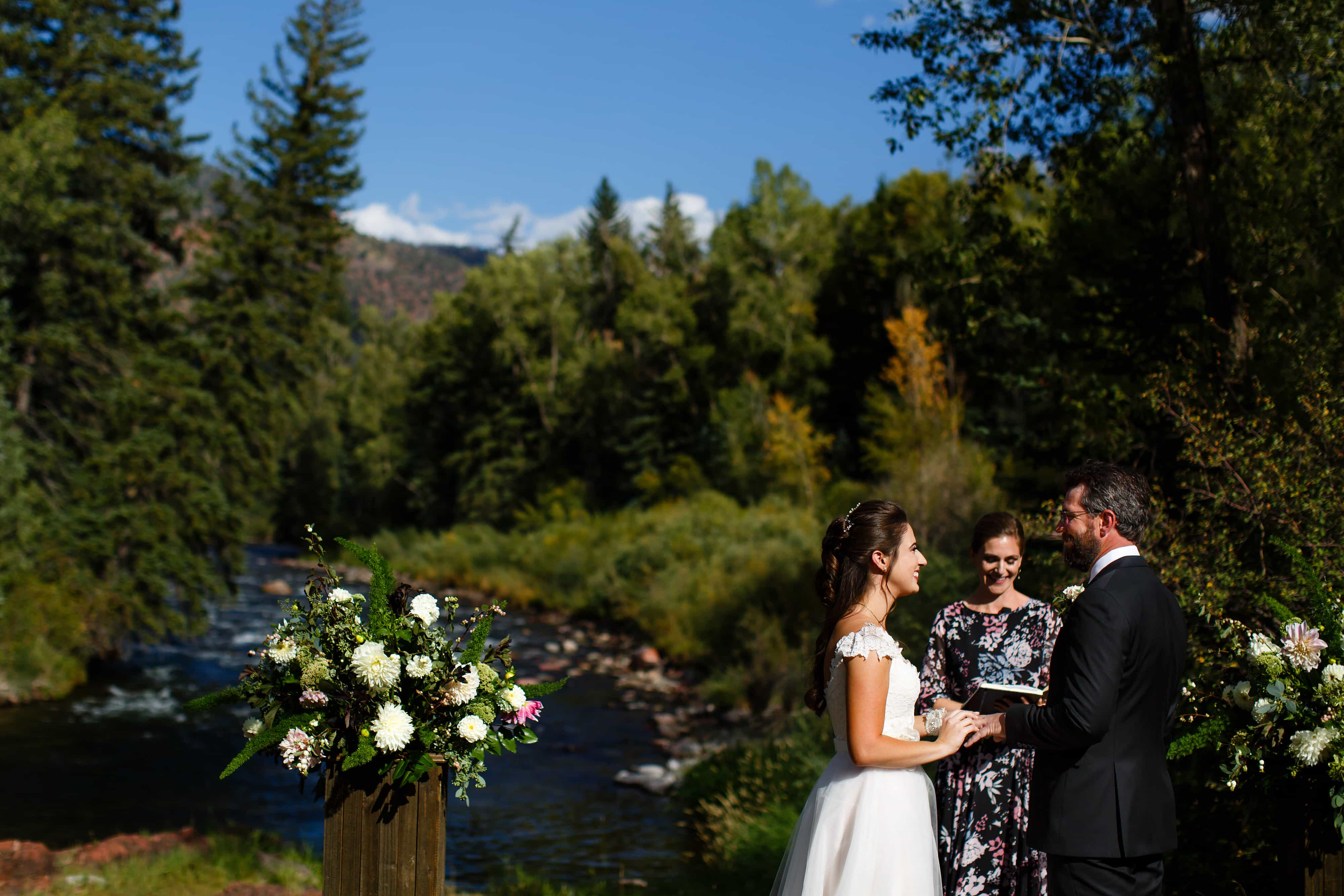 Mallory and Daniel exchange rings at Snowmass Cottages