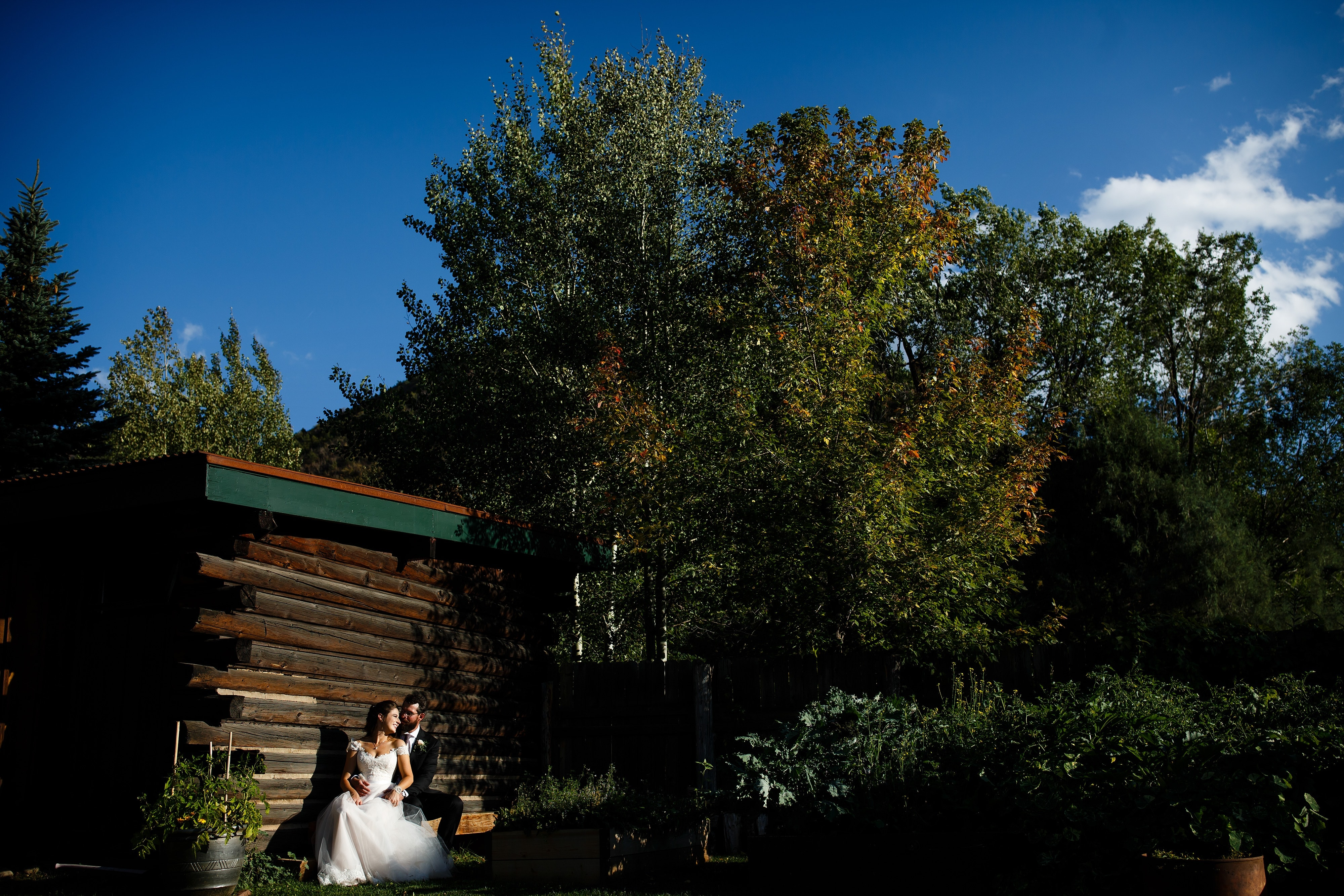 The couple sits on a bench as the sunlight illuminates them during their fall wedding in Snowmass