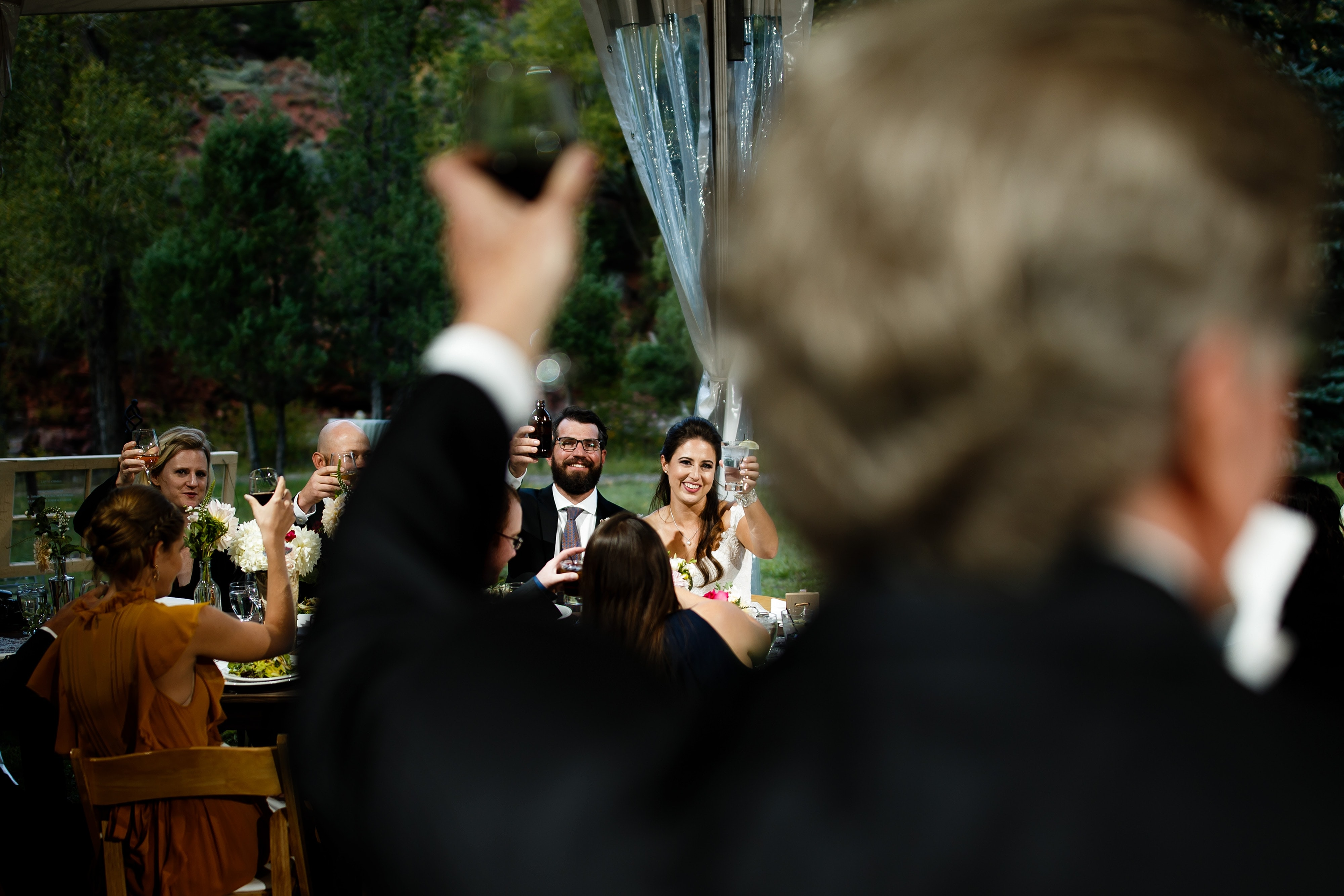 The father of the bride toasts the couple during the reception