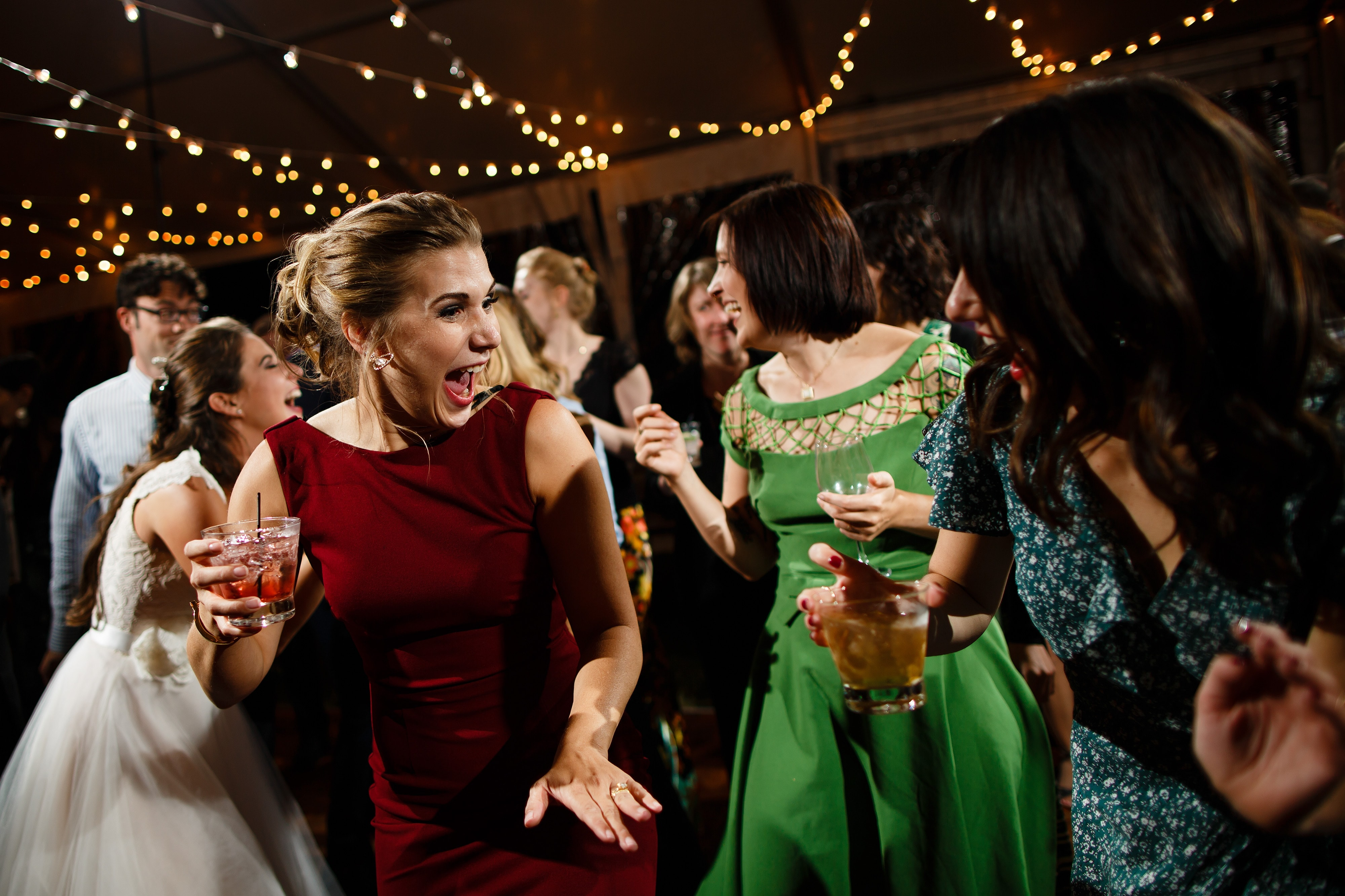Guests dance together at the Snowmass Cottages reception