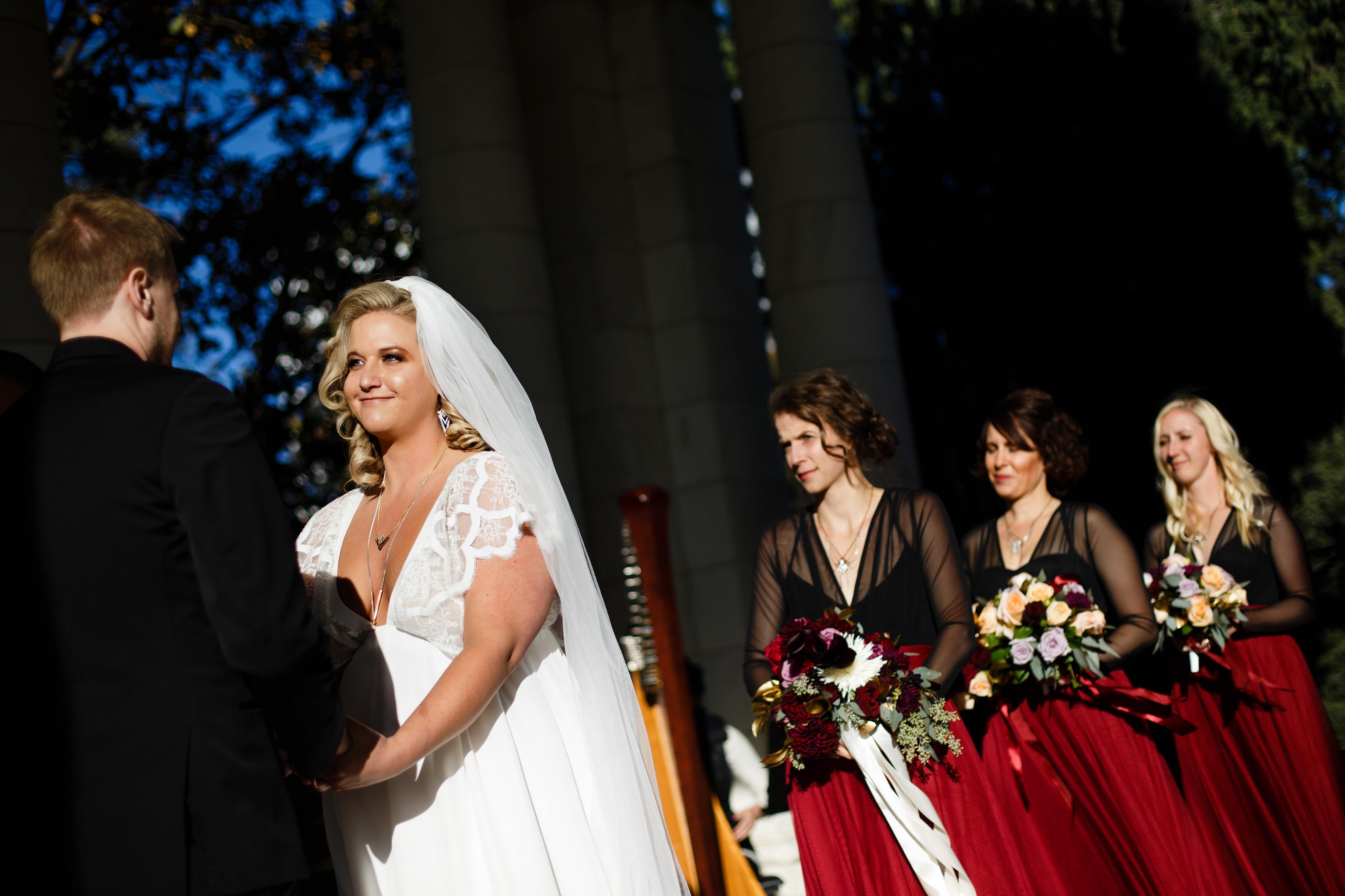 Sarah looks at Ryan during their Cheesman Park wedding in Denver