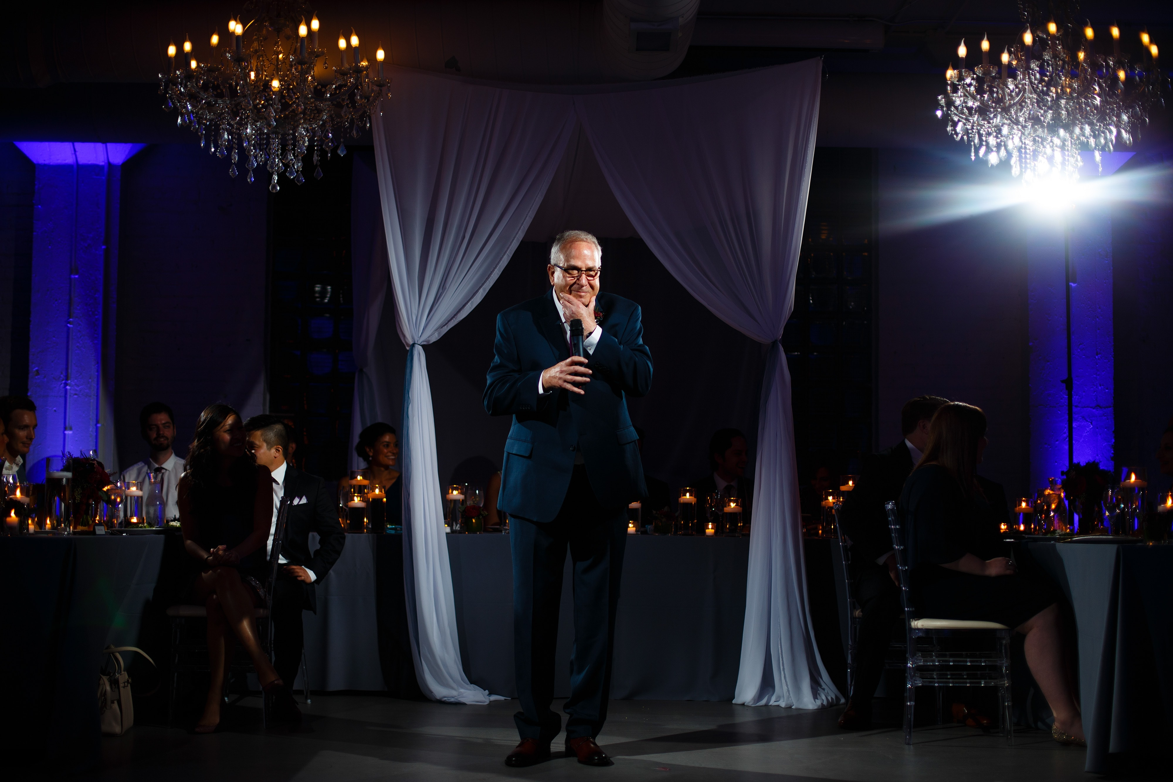 The father of the groom gives a toast