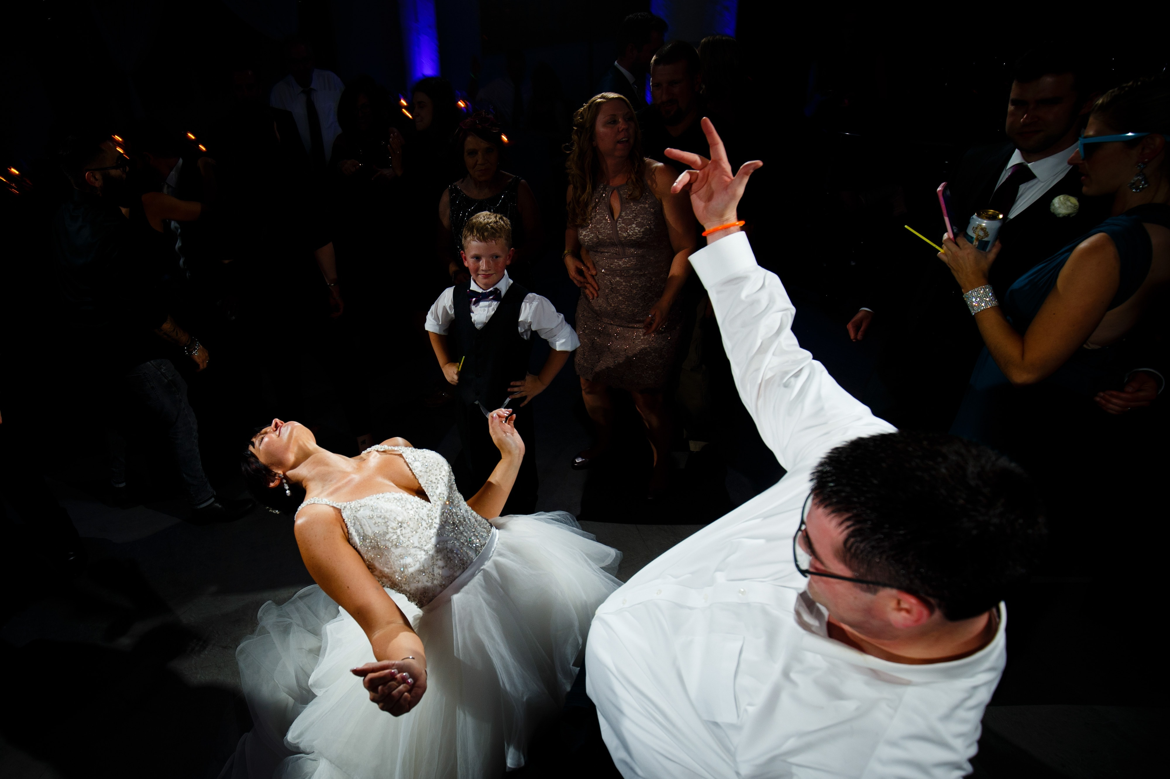 Guests dance during a wedding at Room 1520