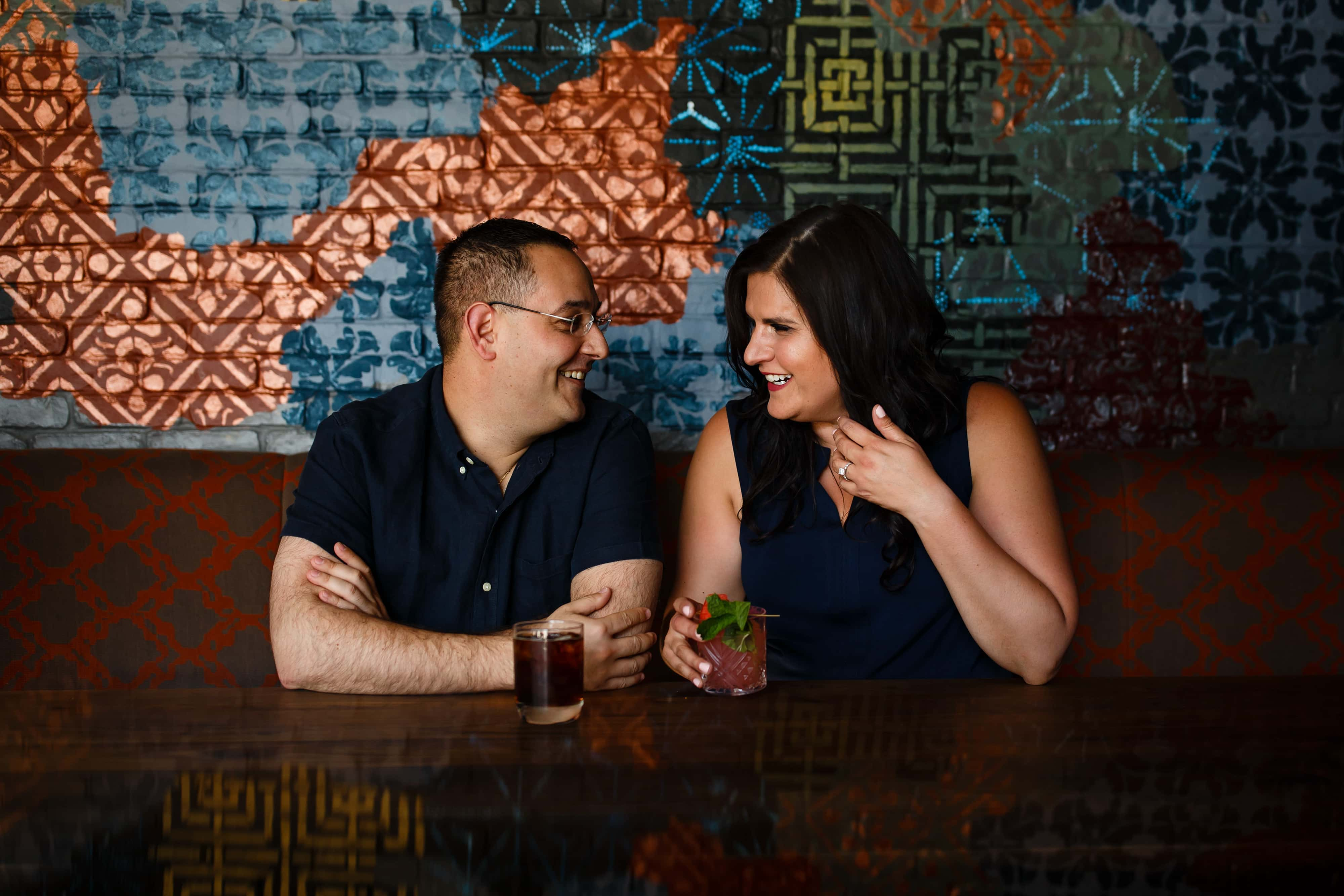 Dimitra and George share a drink at Eureka in Boulder on Pearl Street