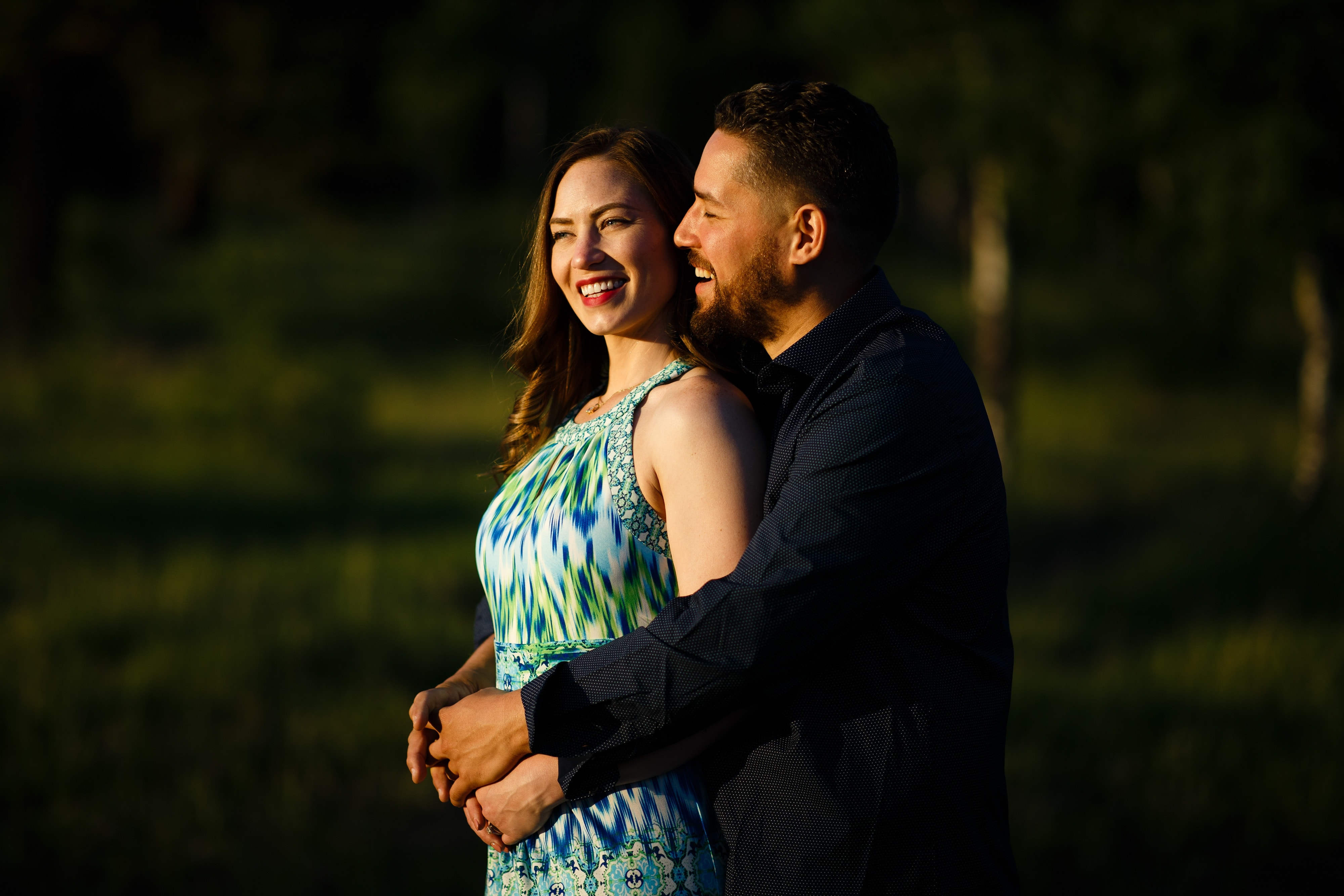 Sharon and Nick embrace together during their engagement photos