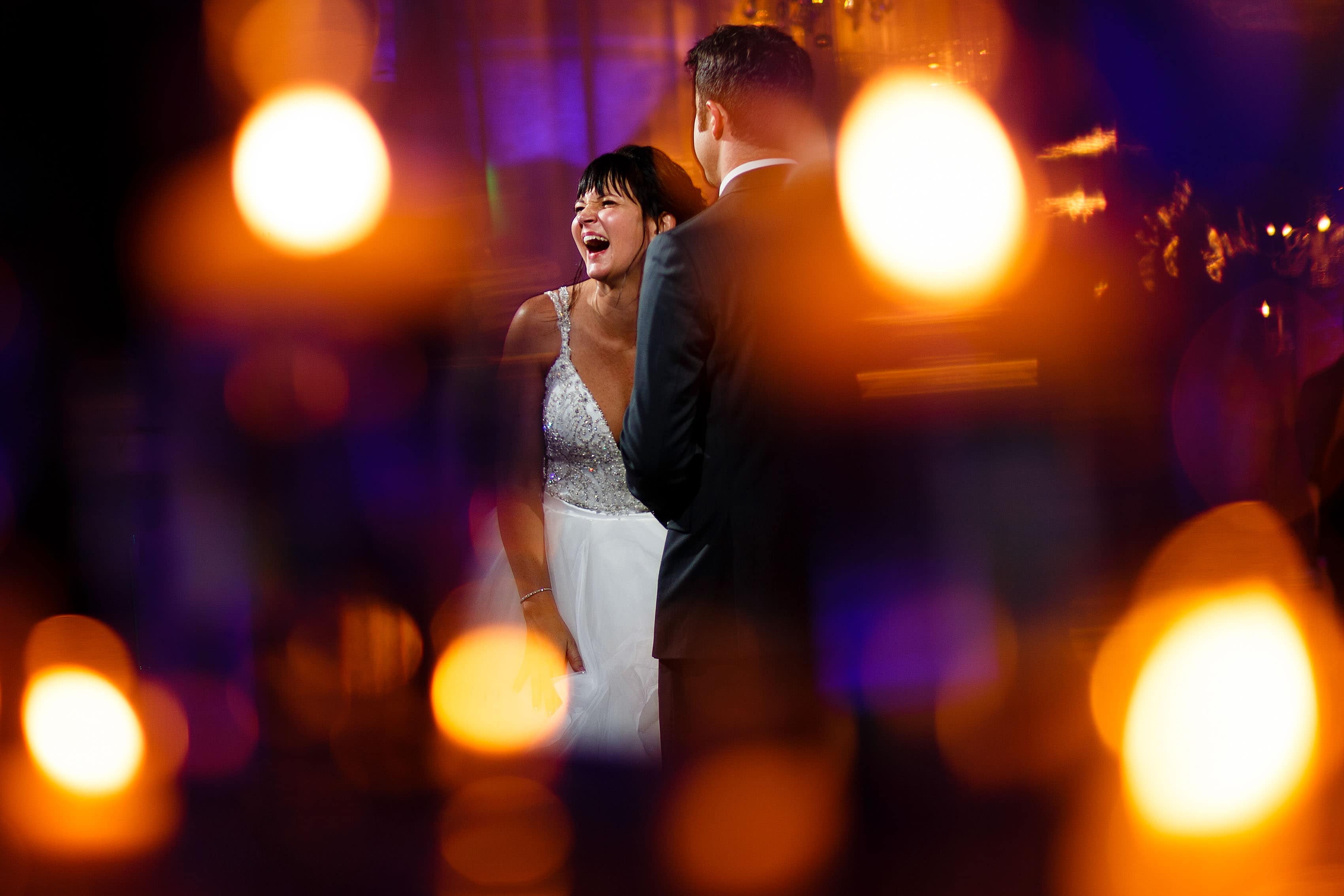 Chelsea and Ori share a first dance during their Room 1520 wedding in Chicago