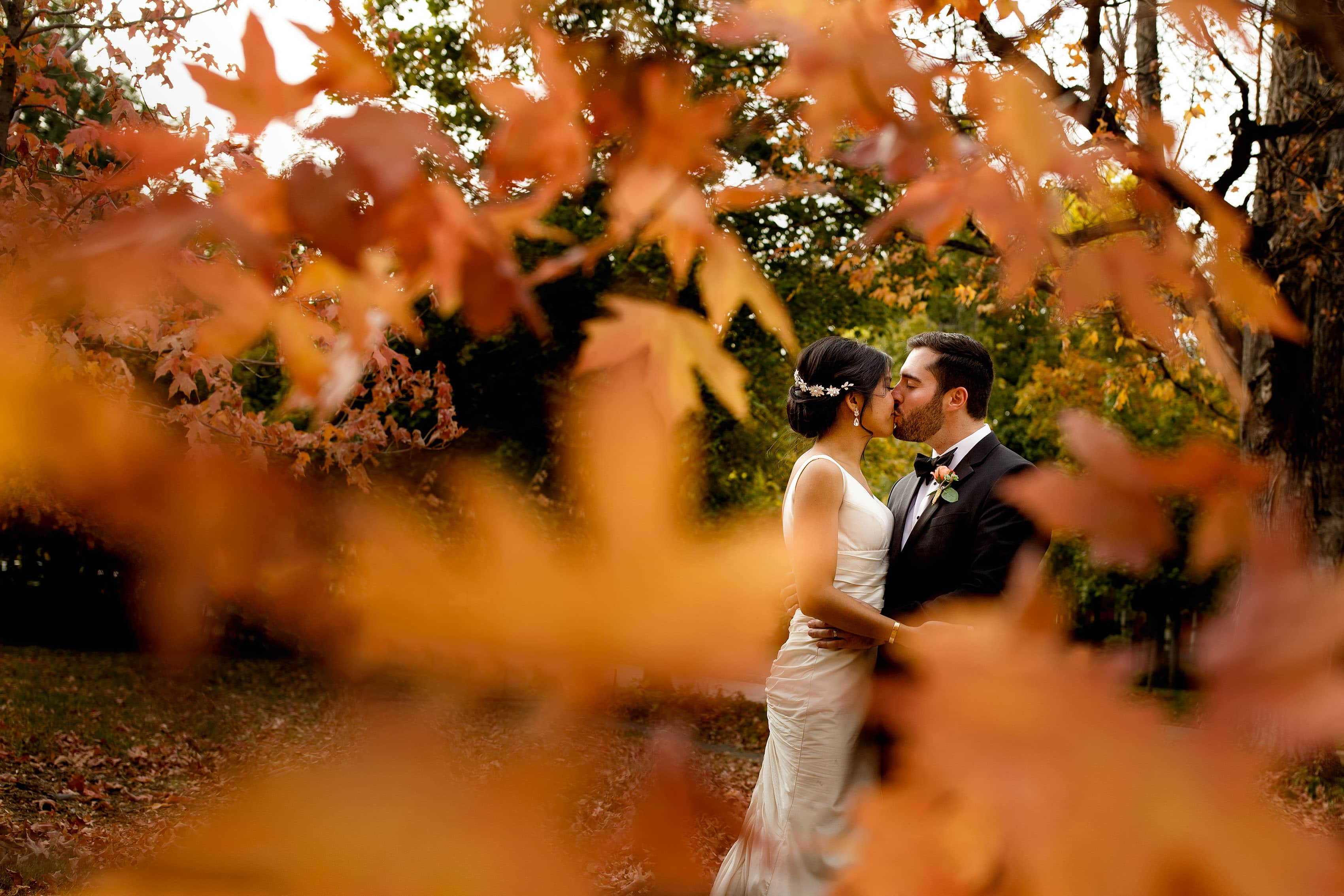 Fall colors surround a couple on their Boulder wedding day