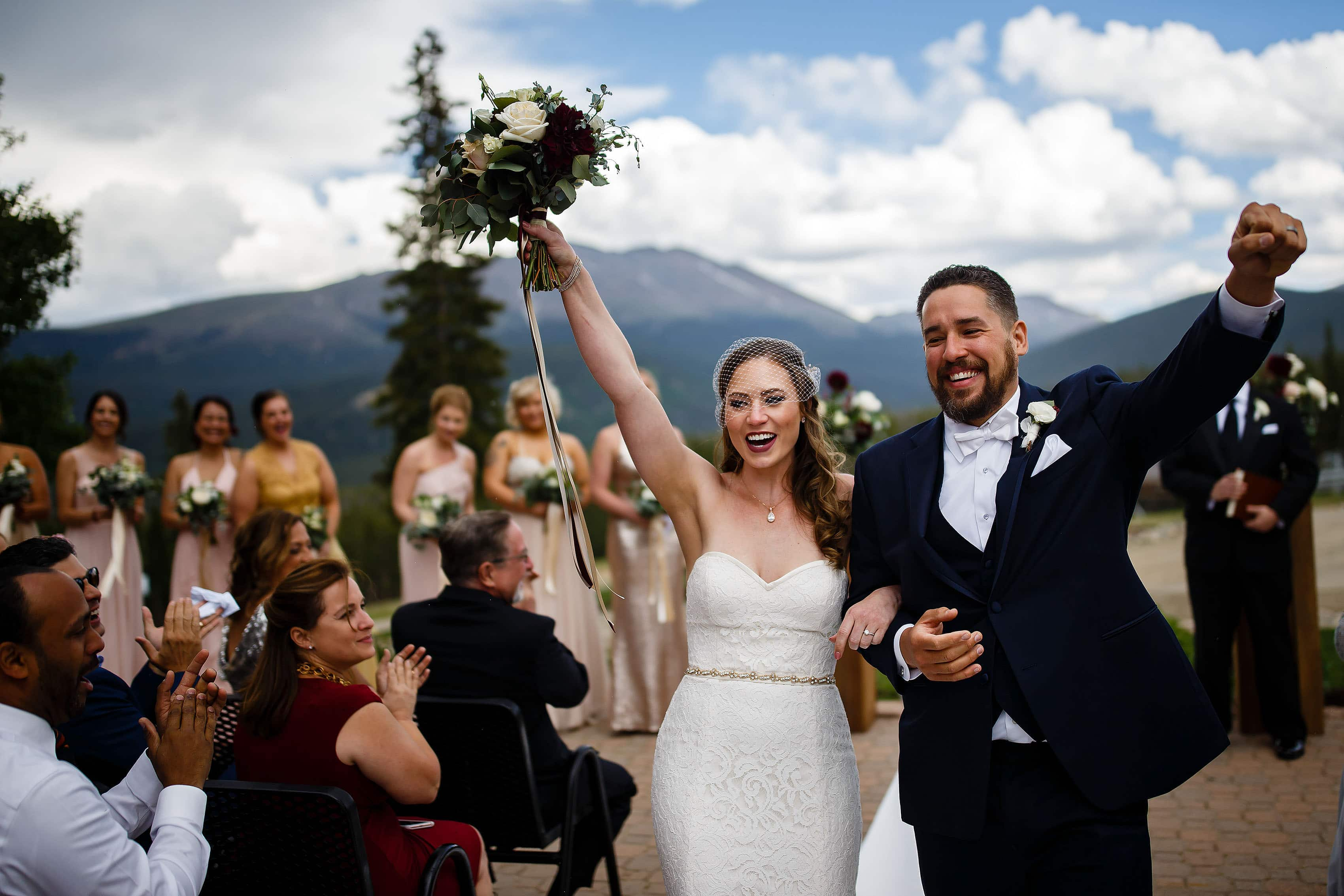 Sharon and Nick celebrate during their Breckenridge TenMile Station Wedding