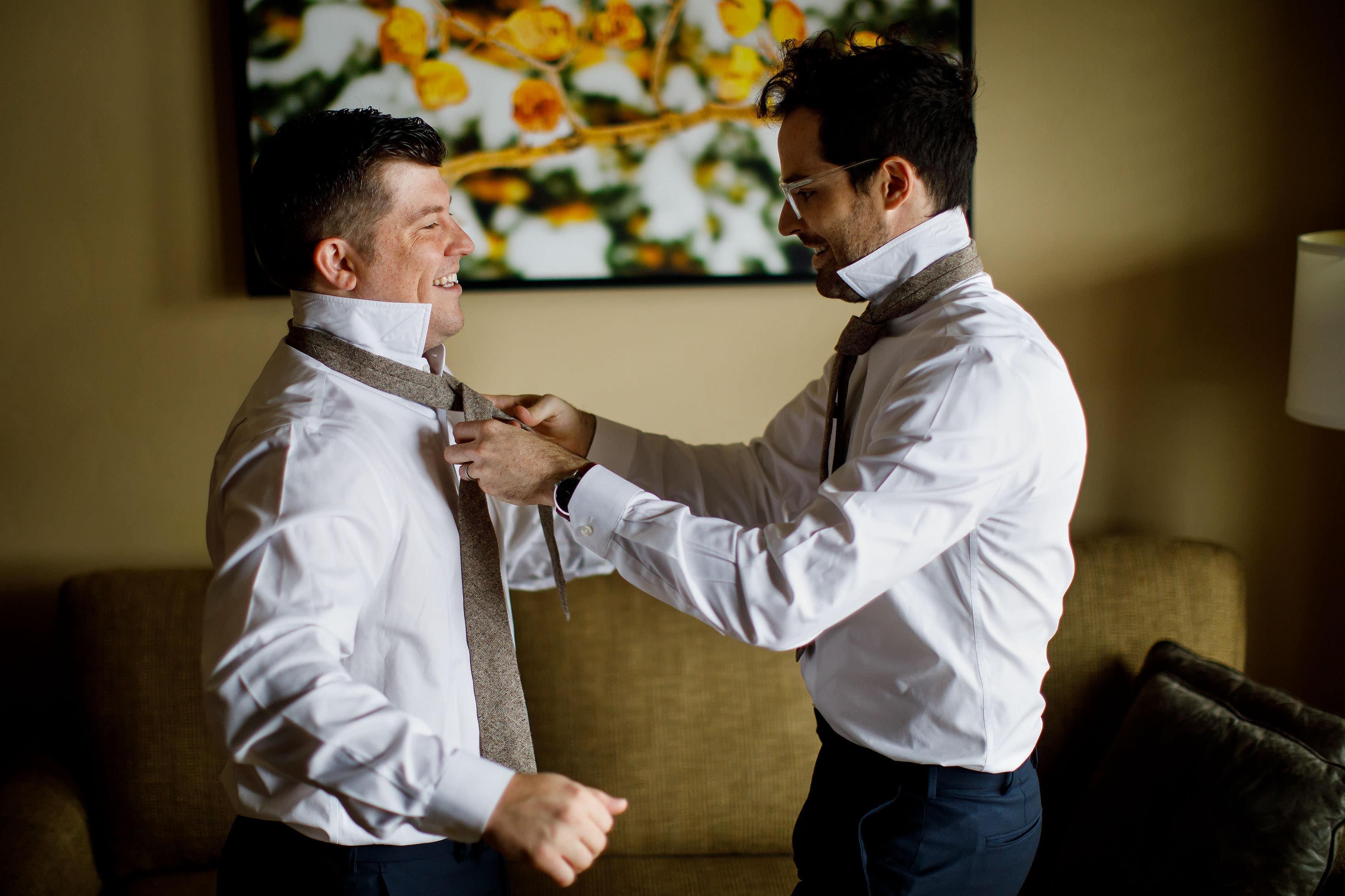 Matt gets help with his tie