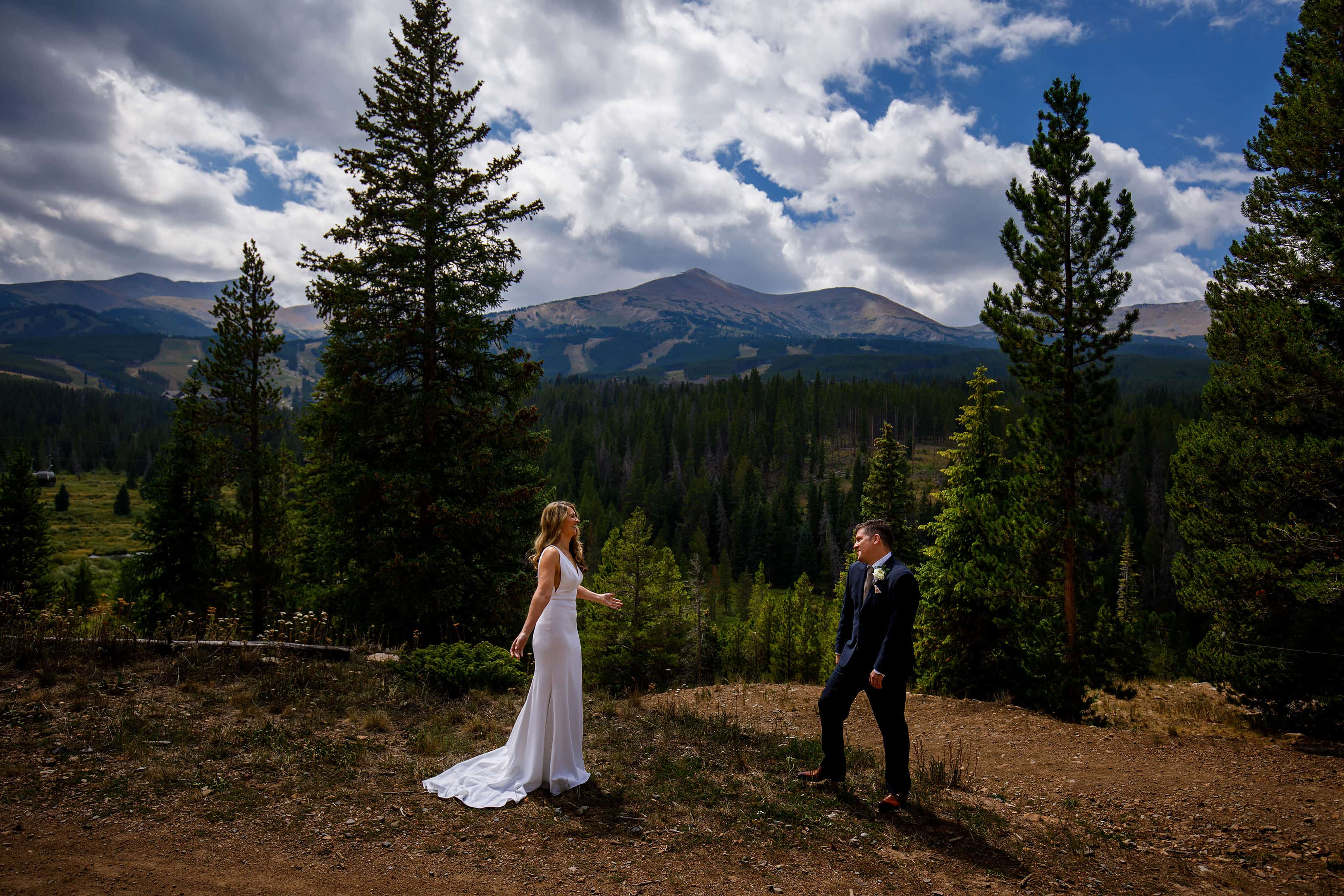 The bride and groom during their first look at Breckenridge resort