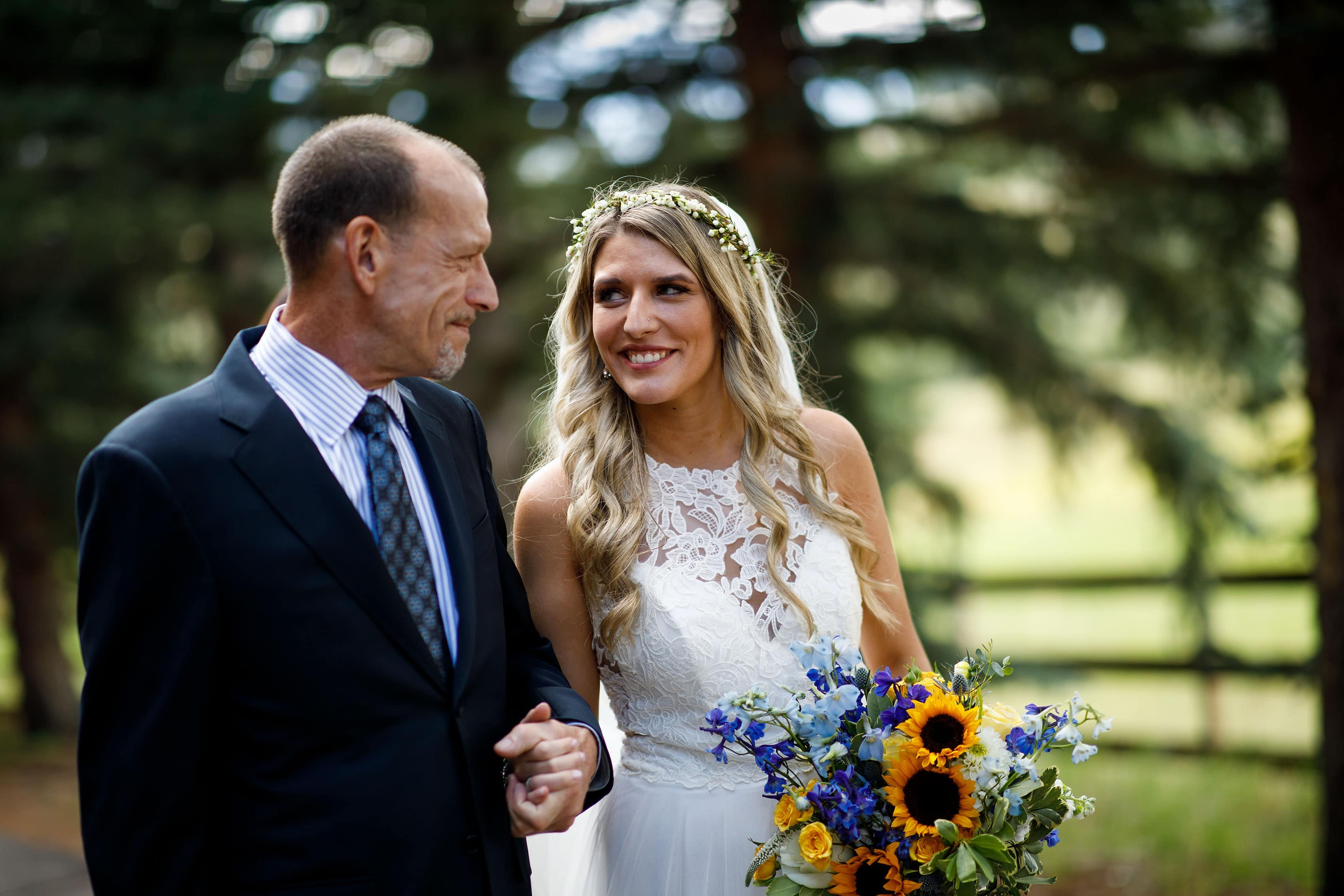 The bride and her father before the ceremony at Deer Creek Valley Ranch