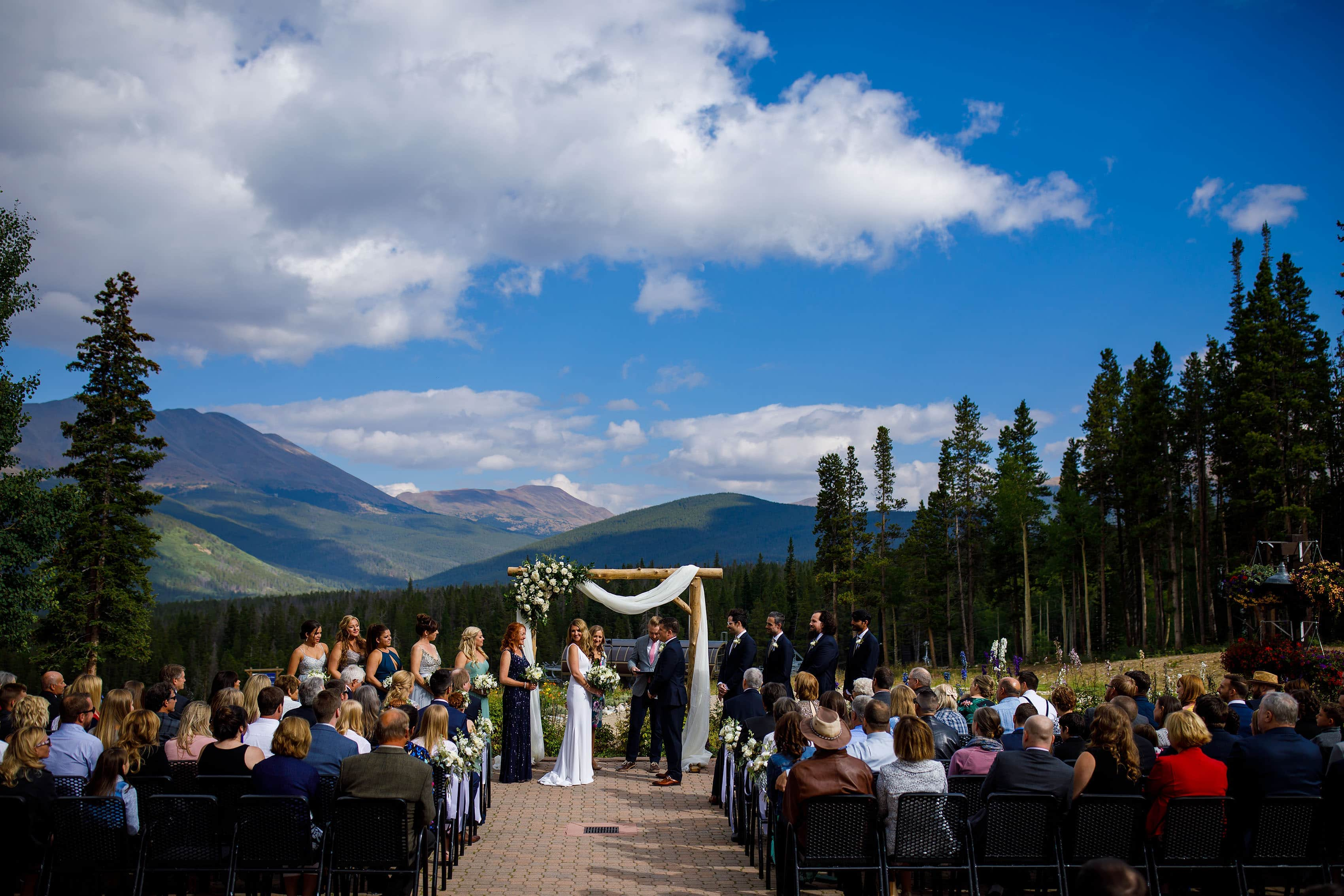 A summer bluebird ceremony at TenMile Station on Peak 9 at Breckenridge resort