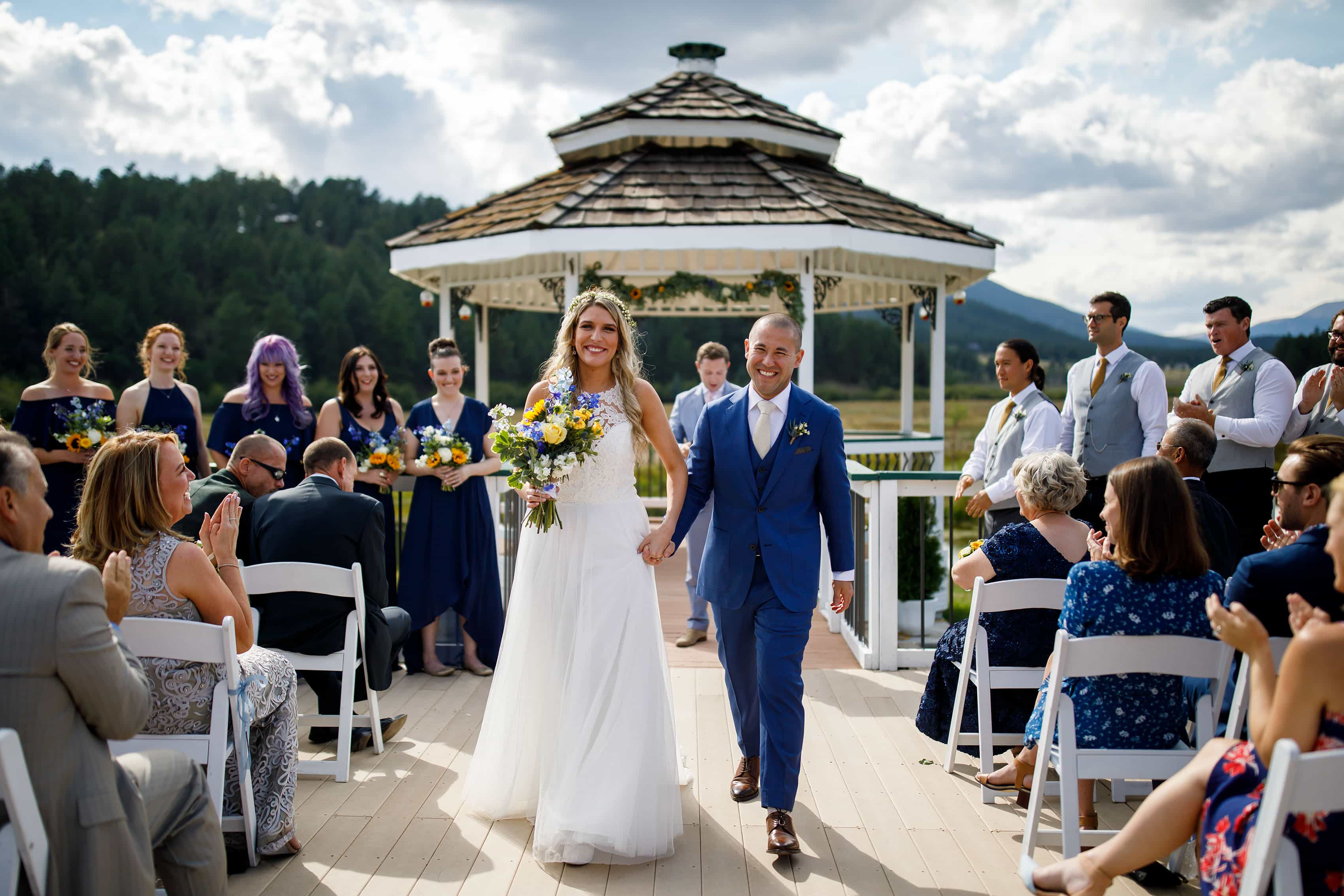 The couple celebrate after their gazebo ceremony at Deer Creek Valley Ranch