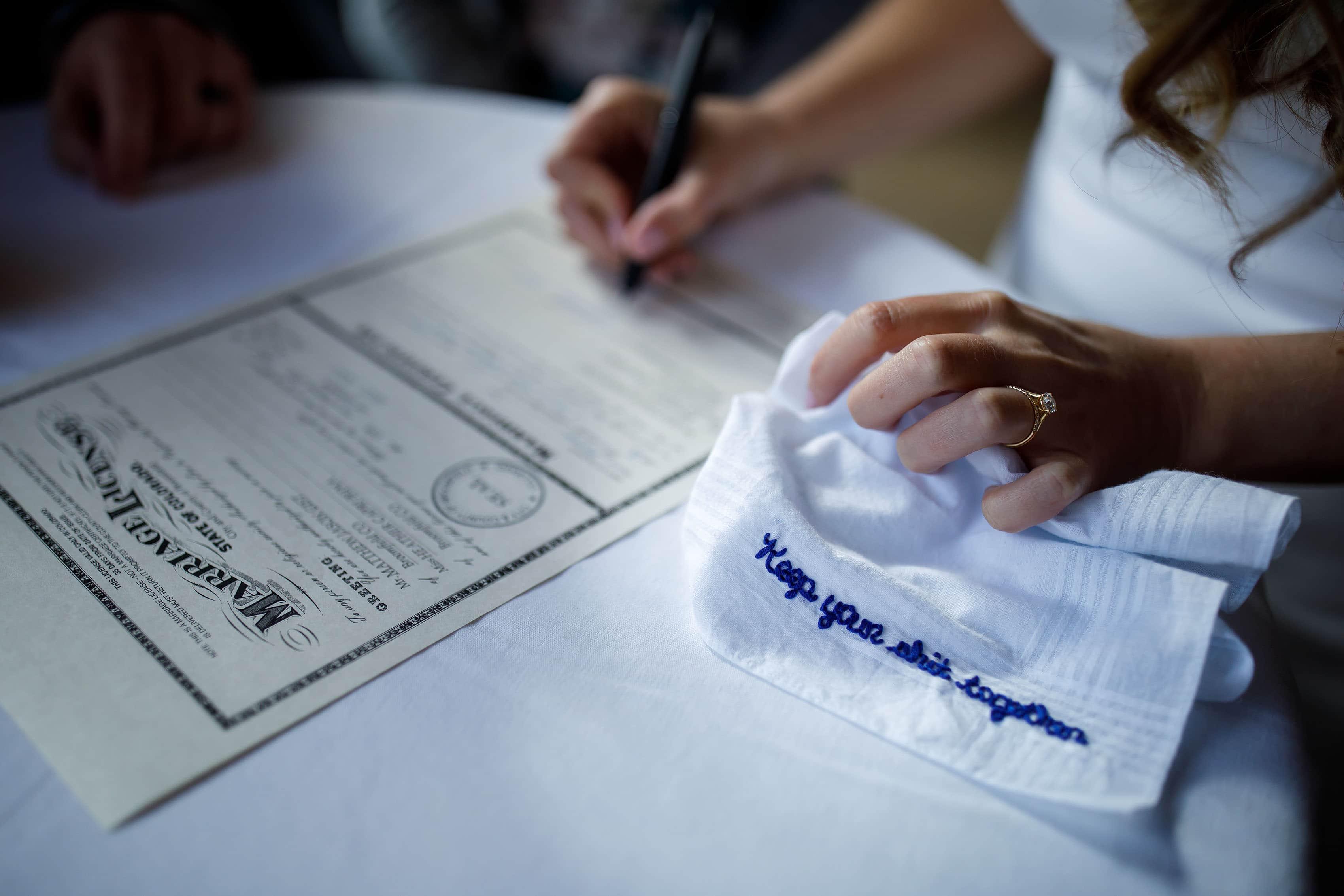 Custom blue wedding handkerchief reading keep your shit together