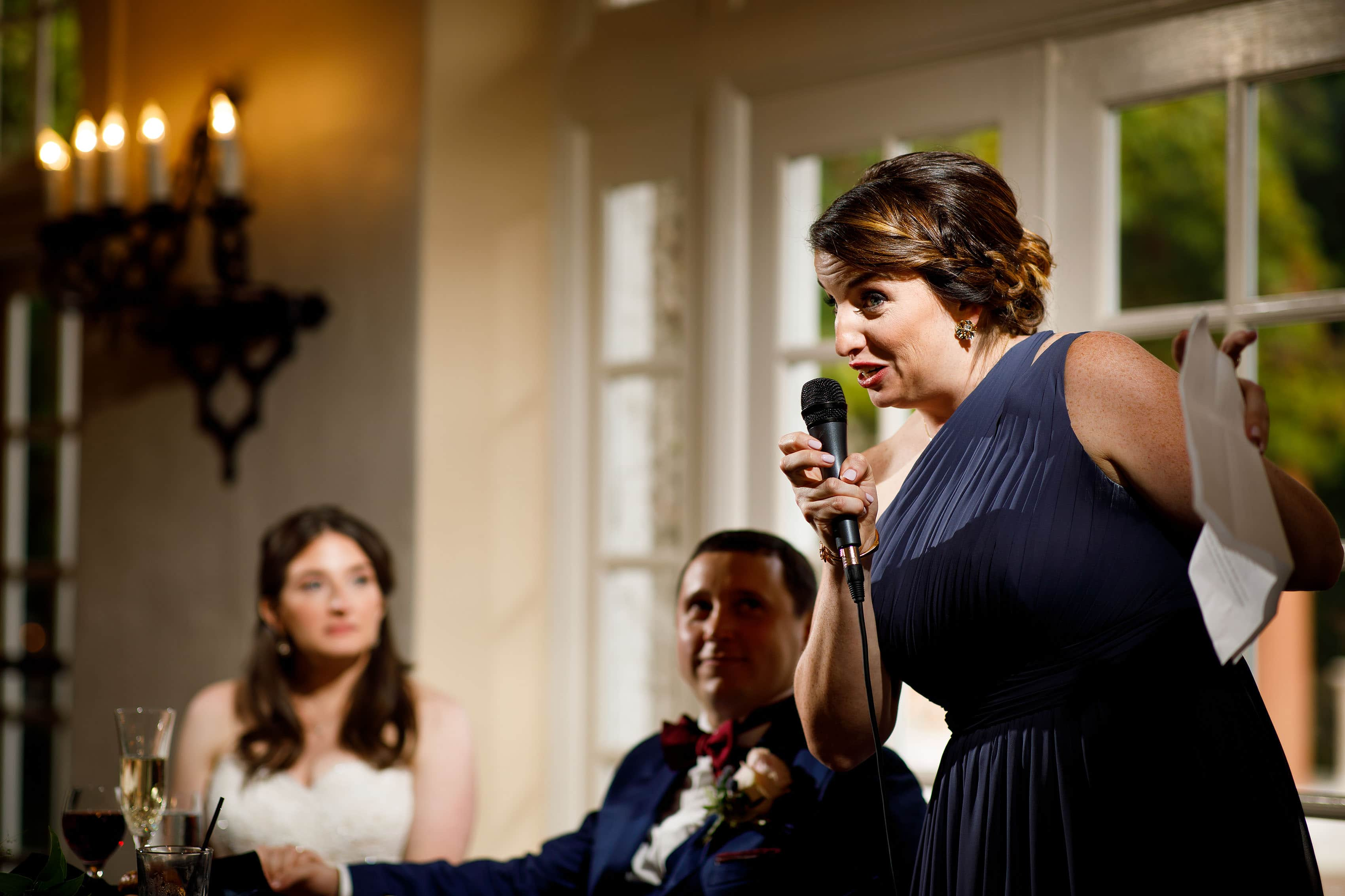 The brides sister gives a toast