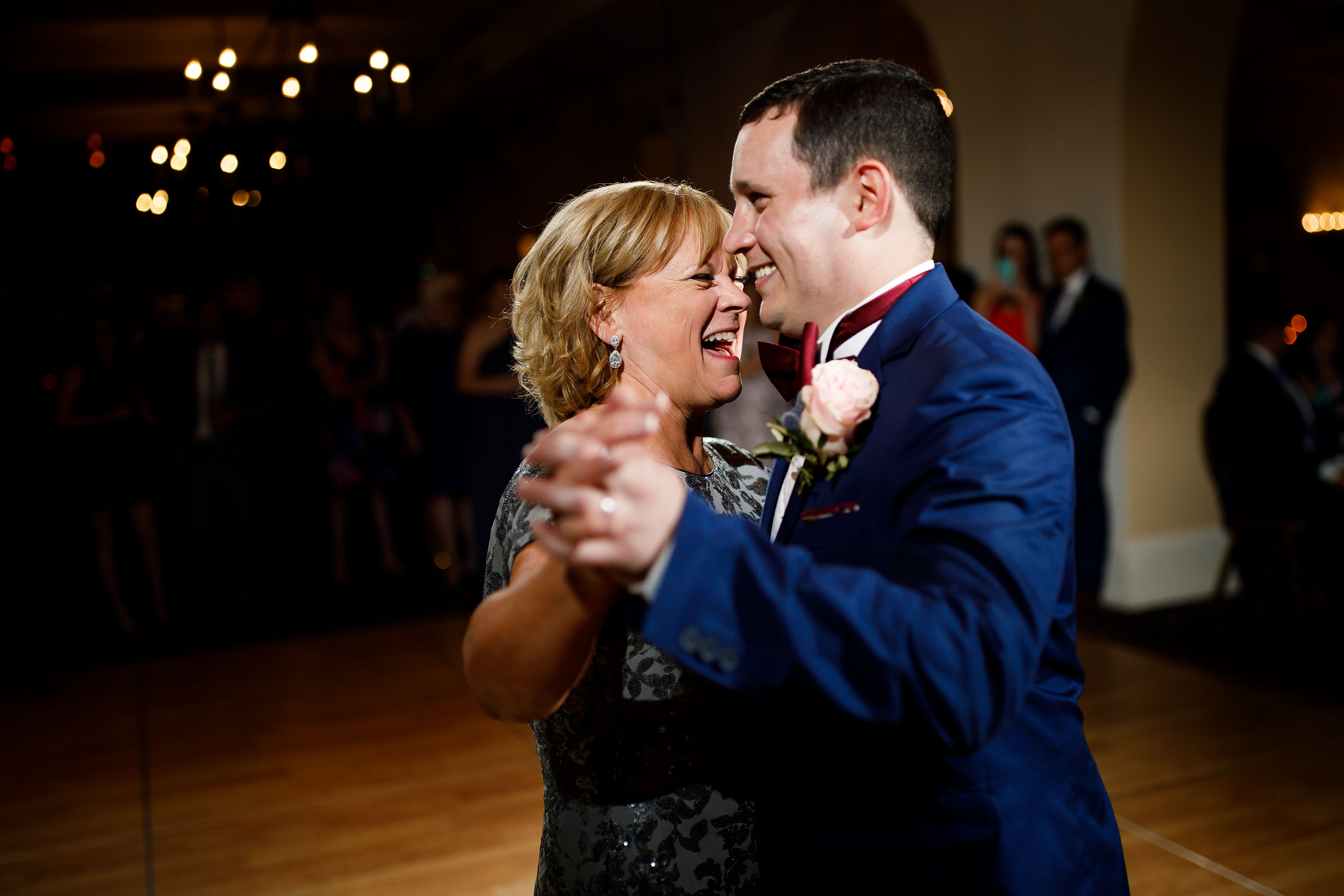 The groom waltzes with his mother at Ravisloe