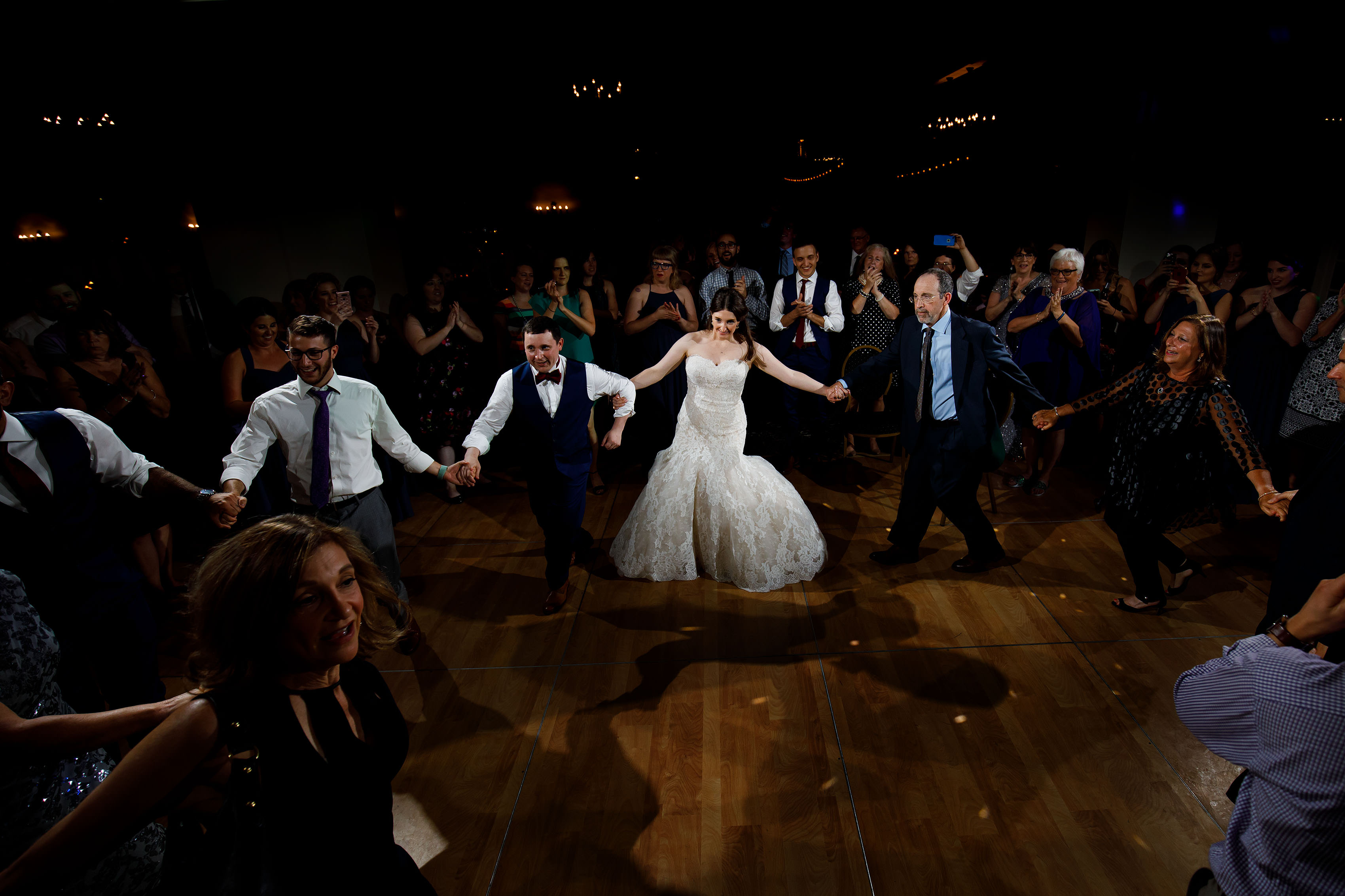 The newlyweds dance with guests at Ravisloe