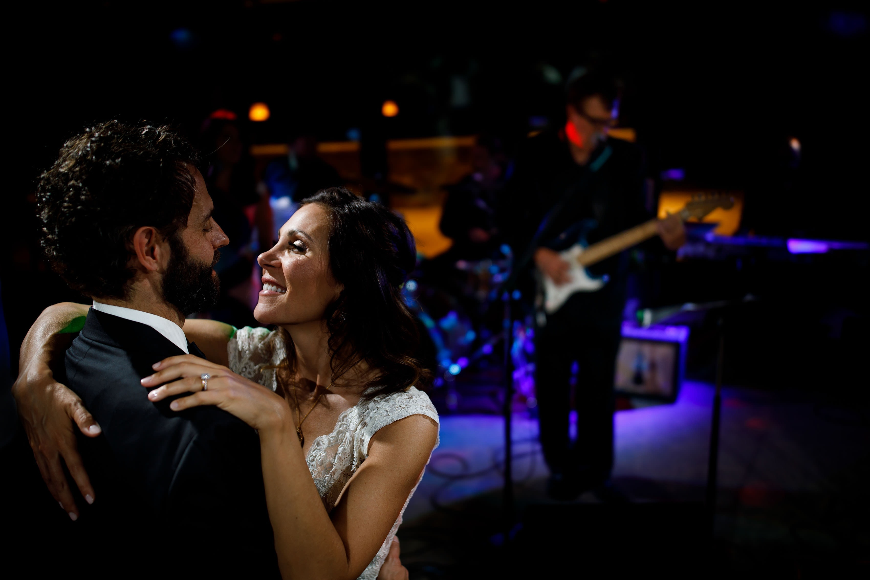 The couple dance together as Jonny Mogambo Band plays at Vail Golf Club