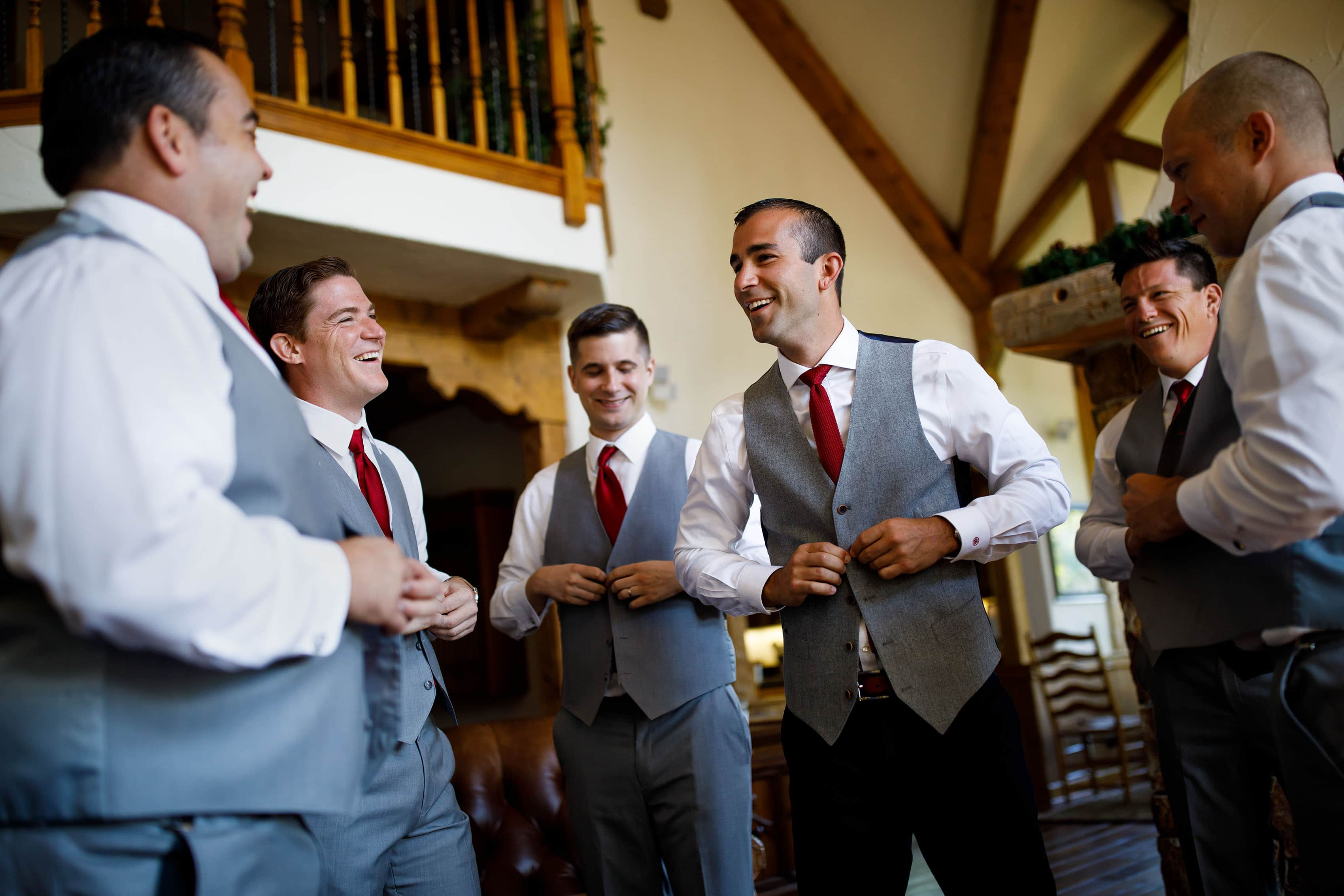 Kevin gets ready with groomsmen in Beaver Creek
