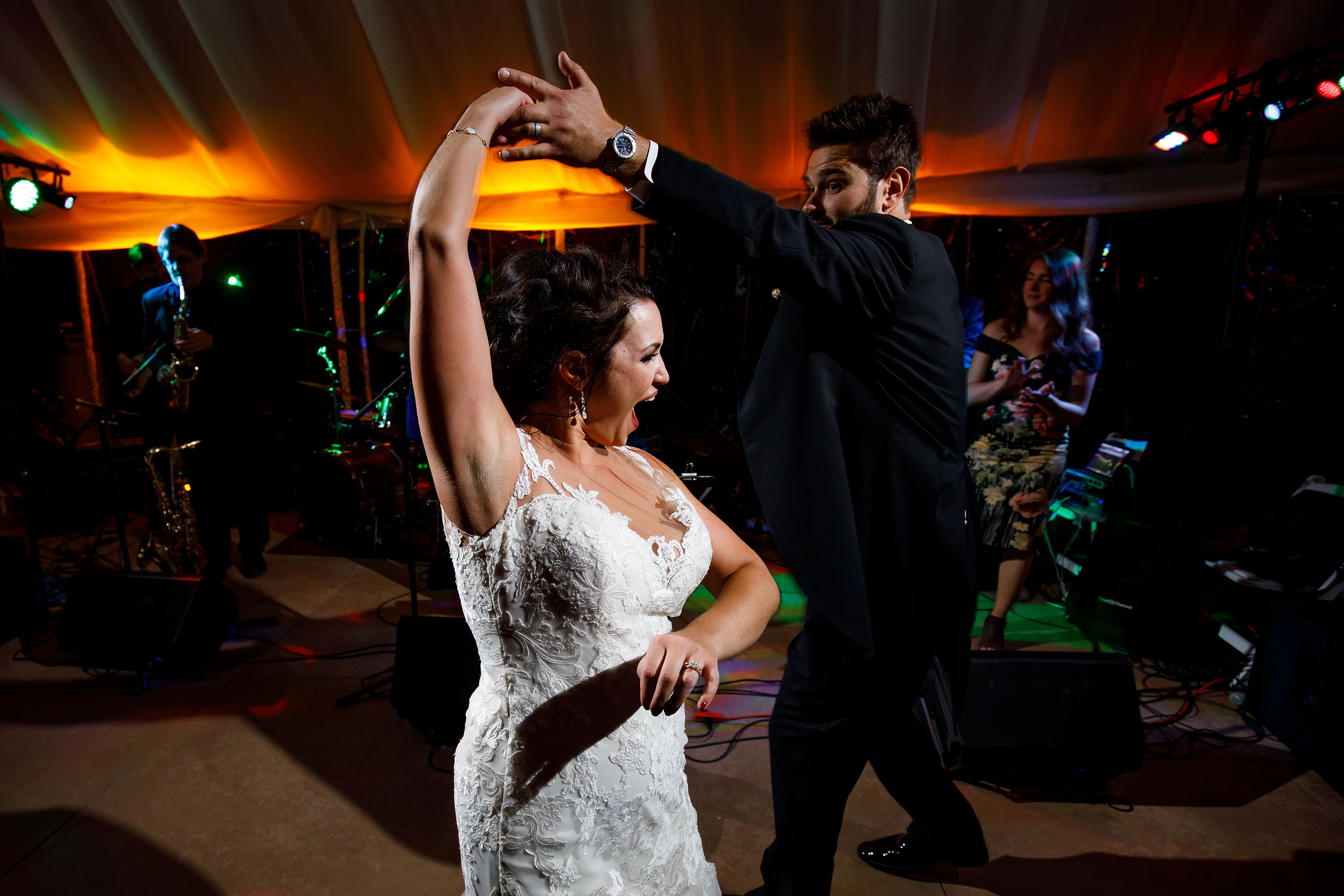 Melissa and Jordan dance as Jonny Mogambo Band performs at their wedding
