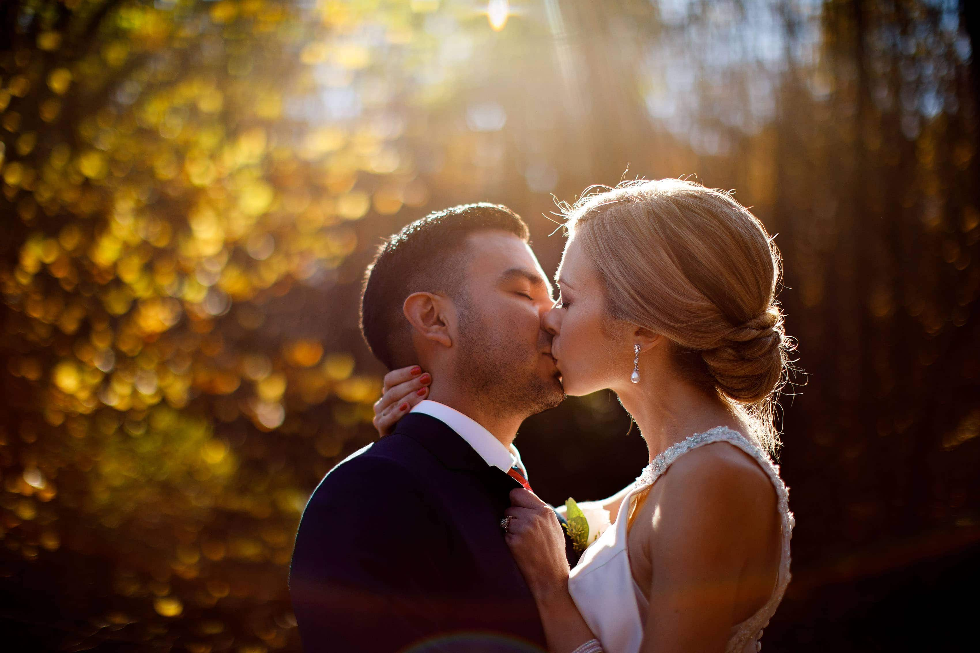 A couple kiss on their wedding day in Orange, Virginia