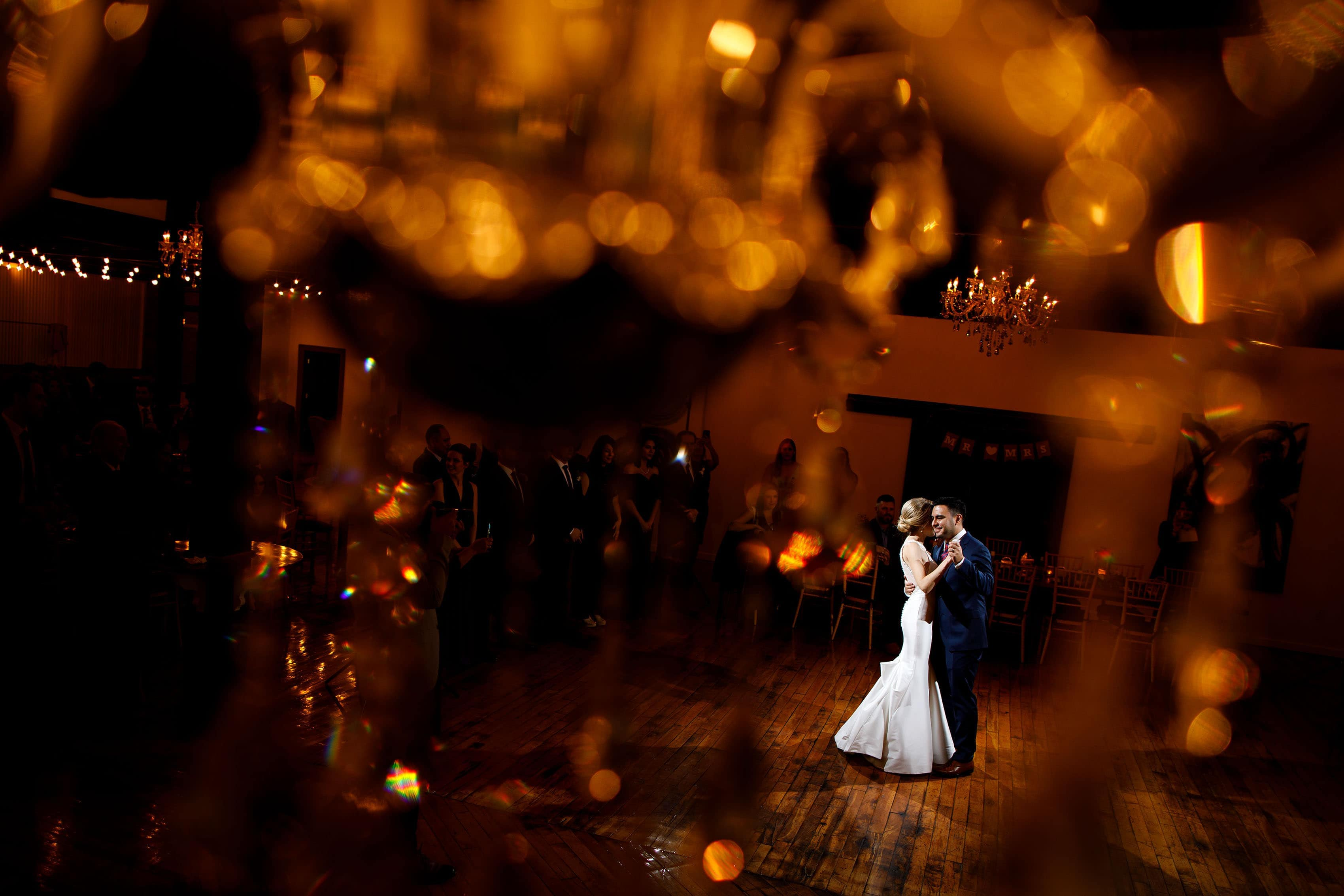 Richie and Ashley share their first dance together during a Madison at the Mill wedding