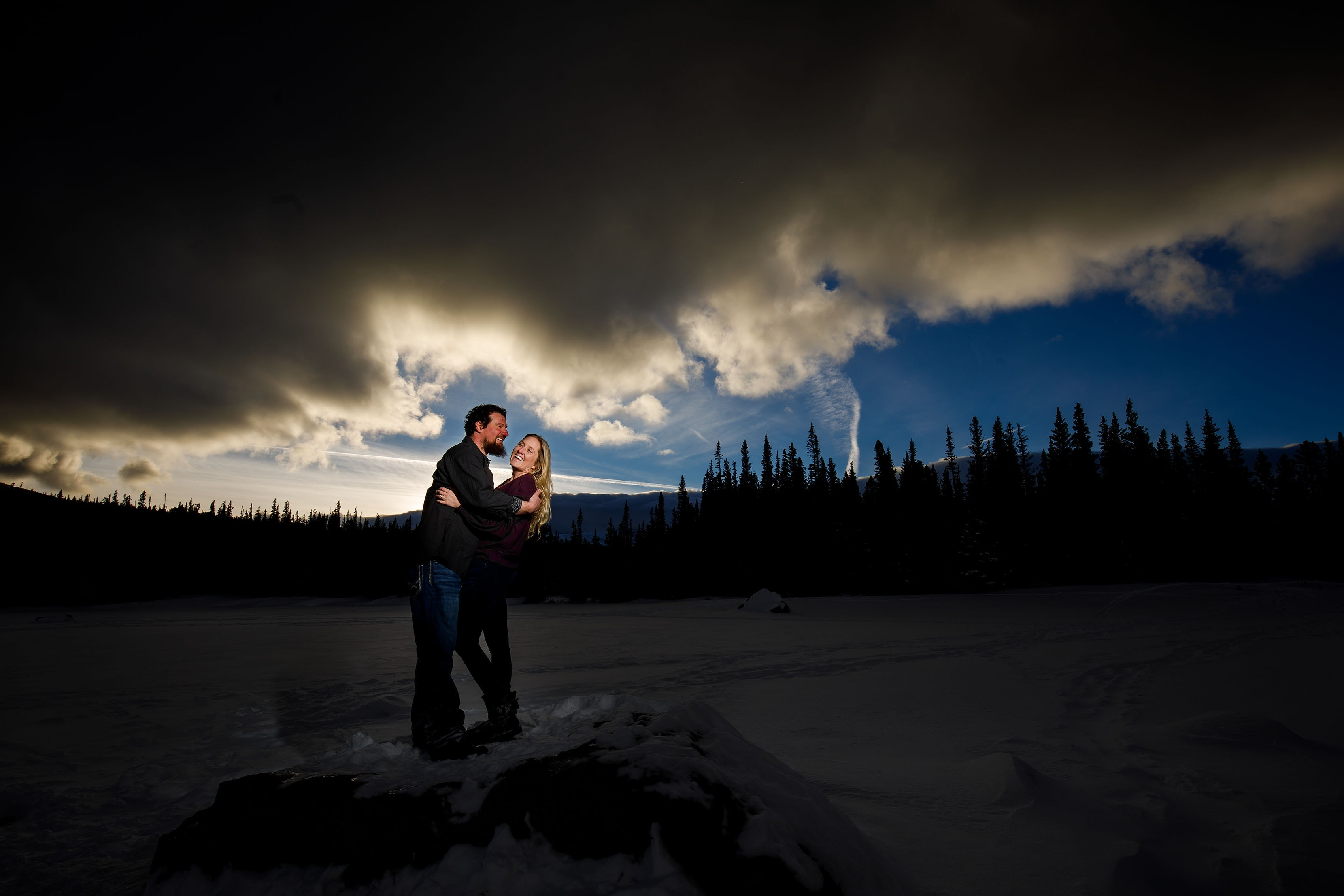 Aaron and Meaghan pose as the sun sets during their Brainard Lake Engagement session in Colorado