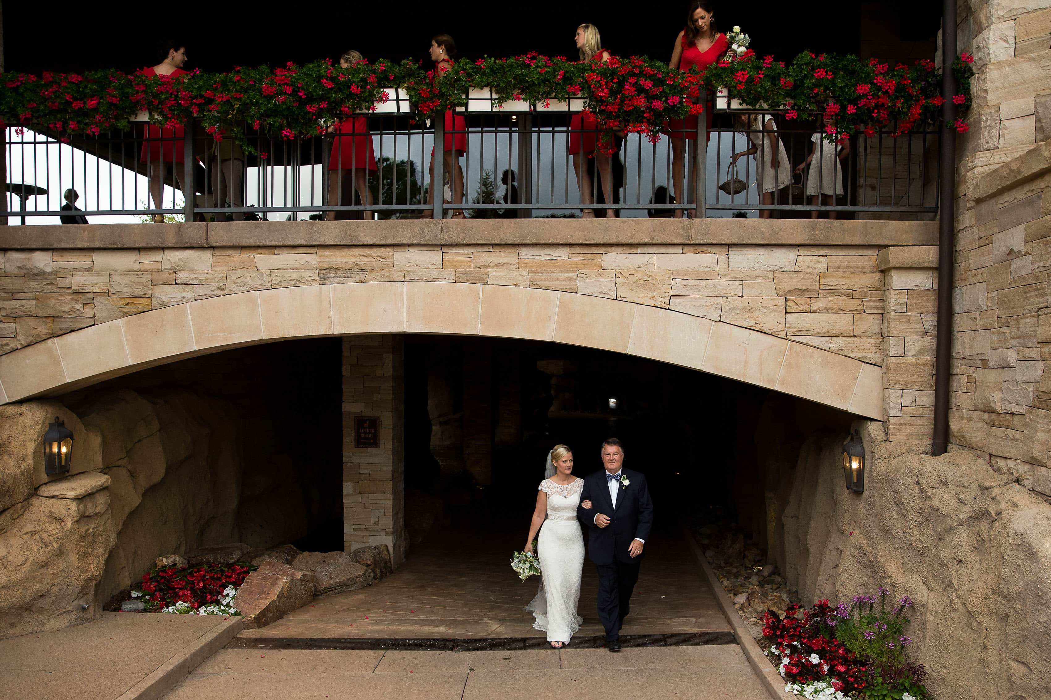 Bride walks out of the locker room at Sanctuary Golf Course