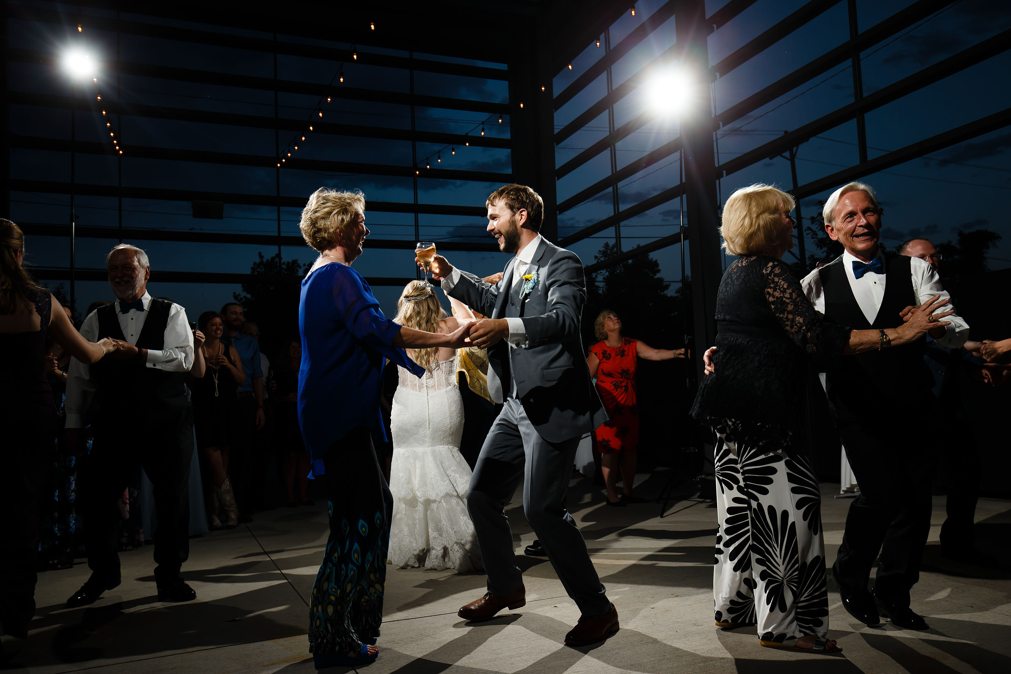 Wedding guests dance at Space Gallery
