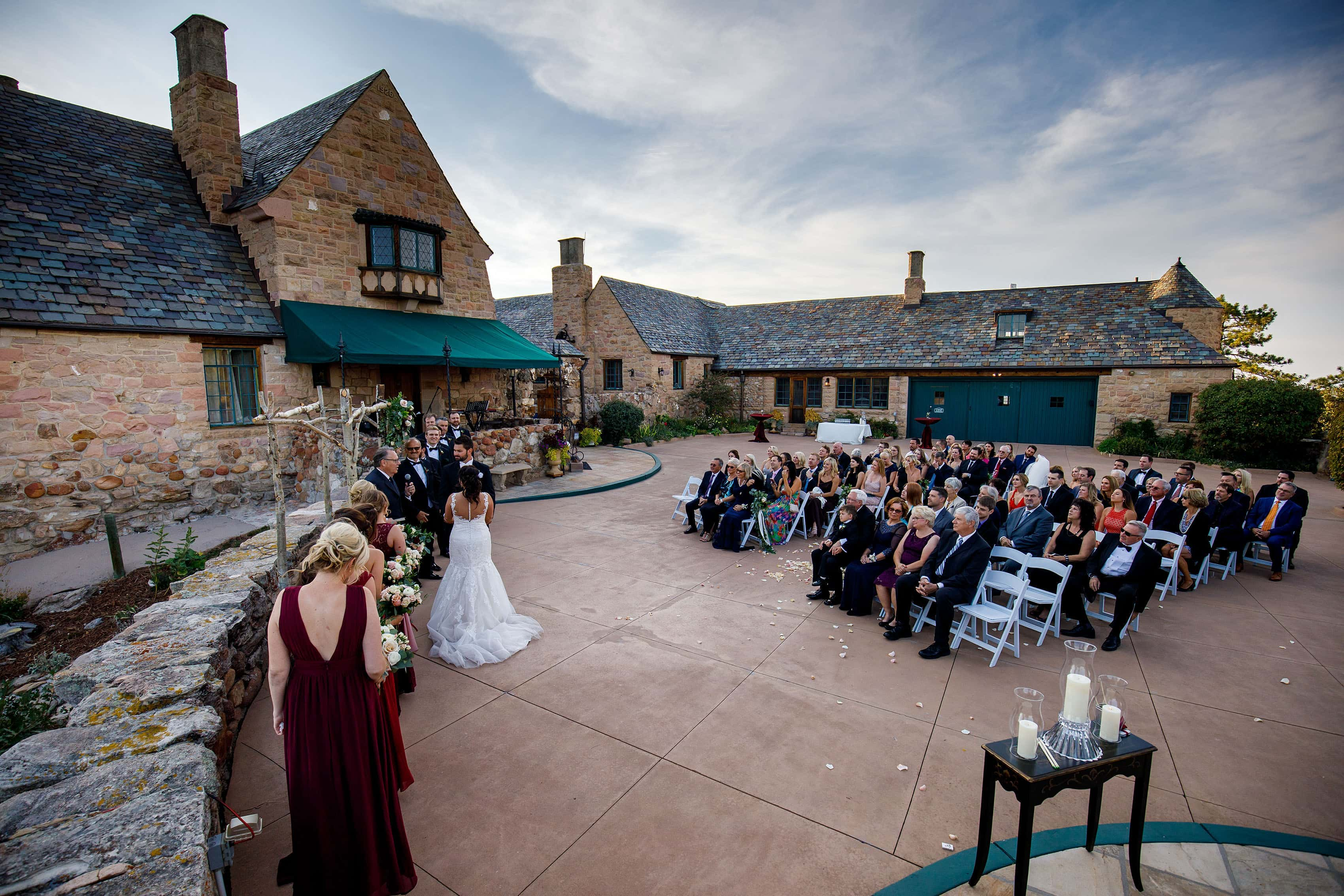 Cherokee Ranch and Castle Foundation wedding ceremony on the patio