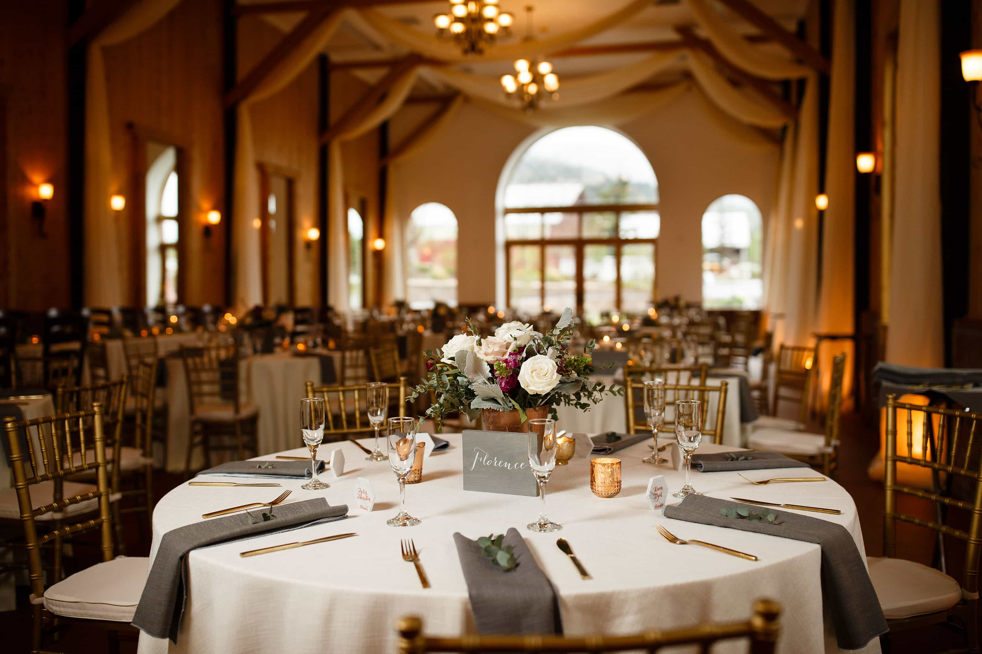 Tables setup for a wedding reception at Crooked Willow Farms