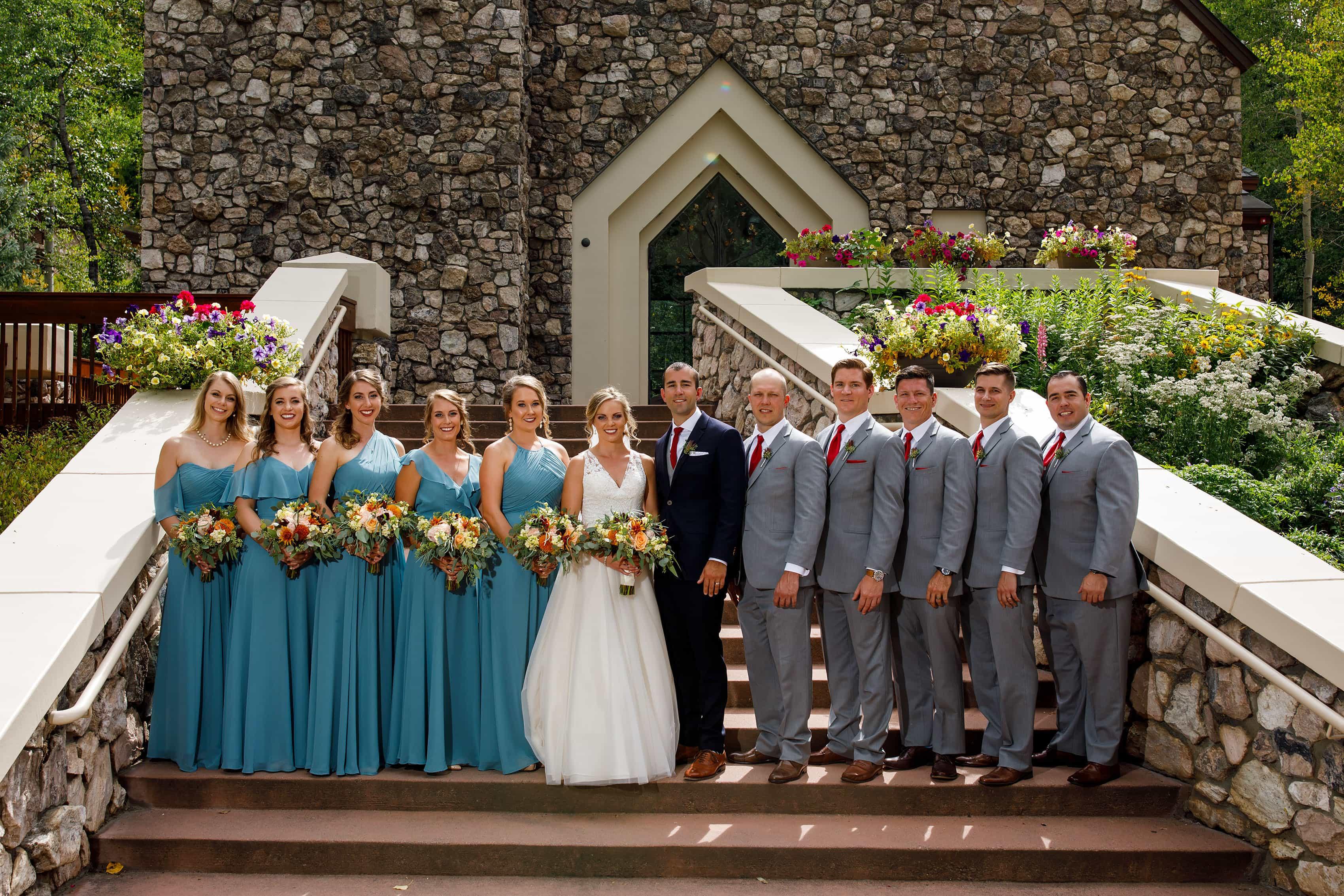 Wedding party at the Chapel at Beaver Creek
