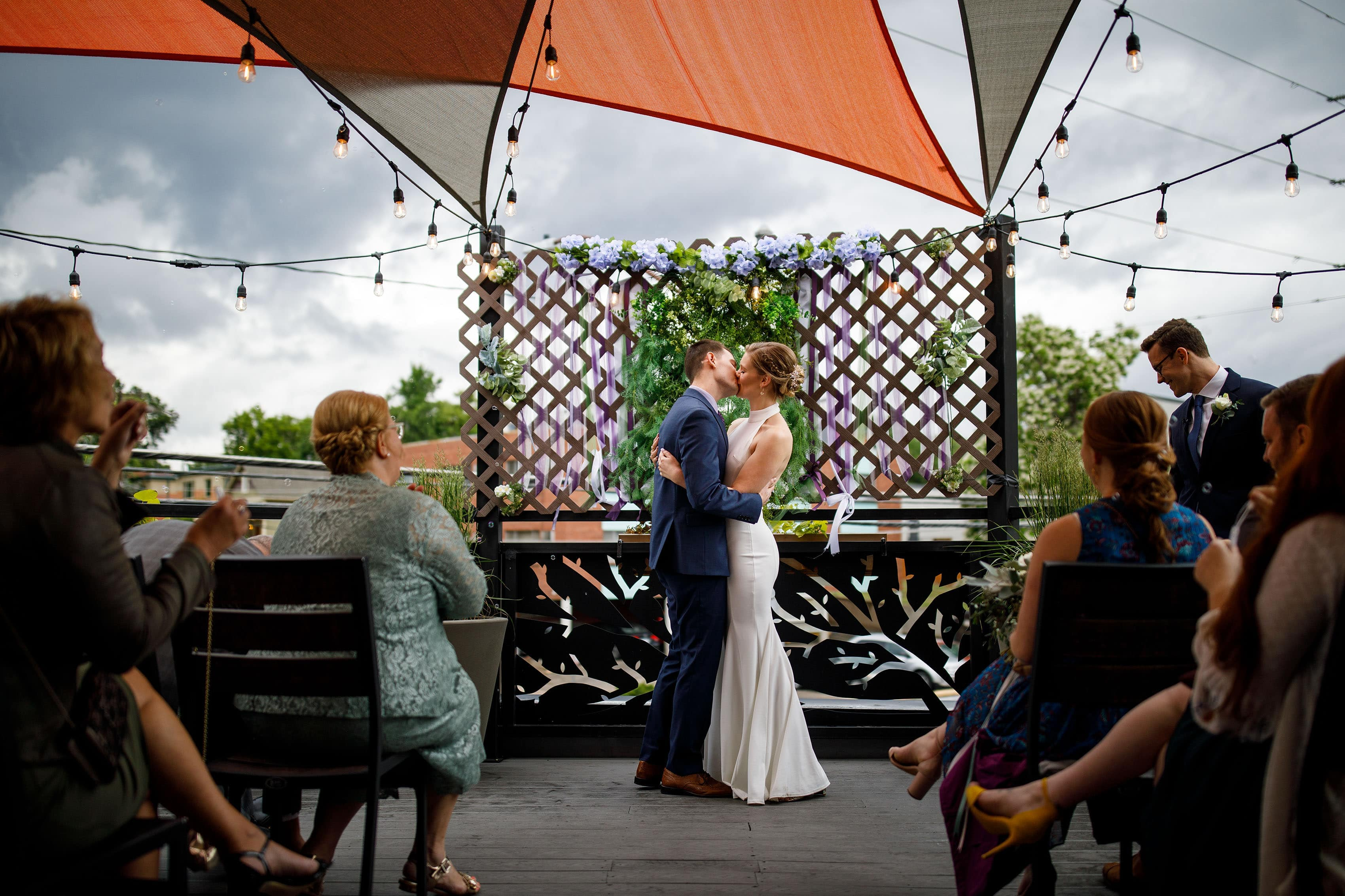 Rooftop wedding ceremony at Briar Common Brewery