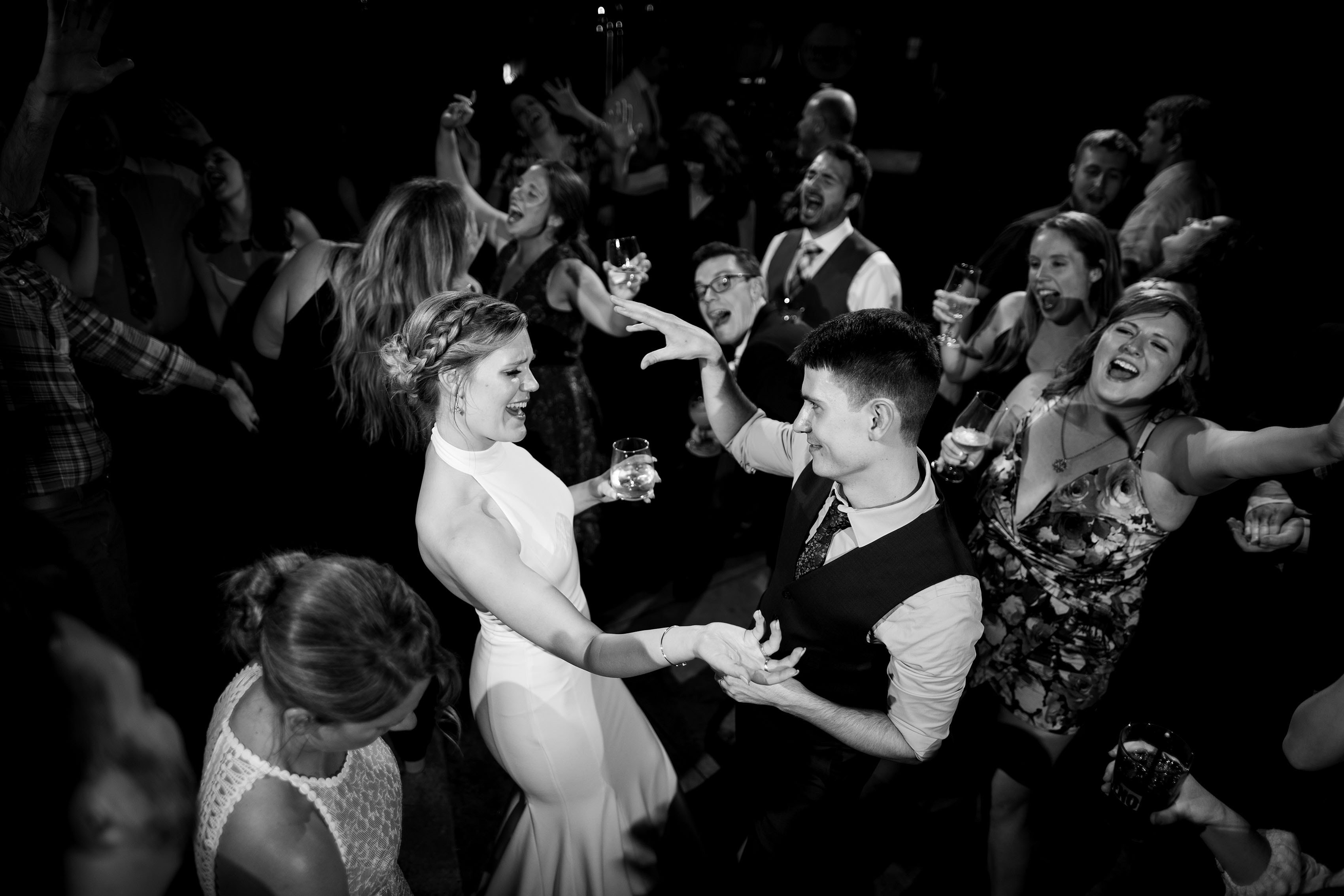 couple dances together on their wedding day at Briar Common brewery