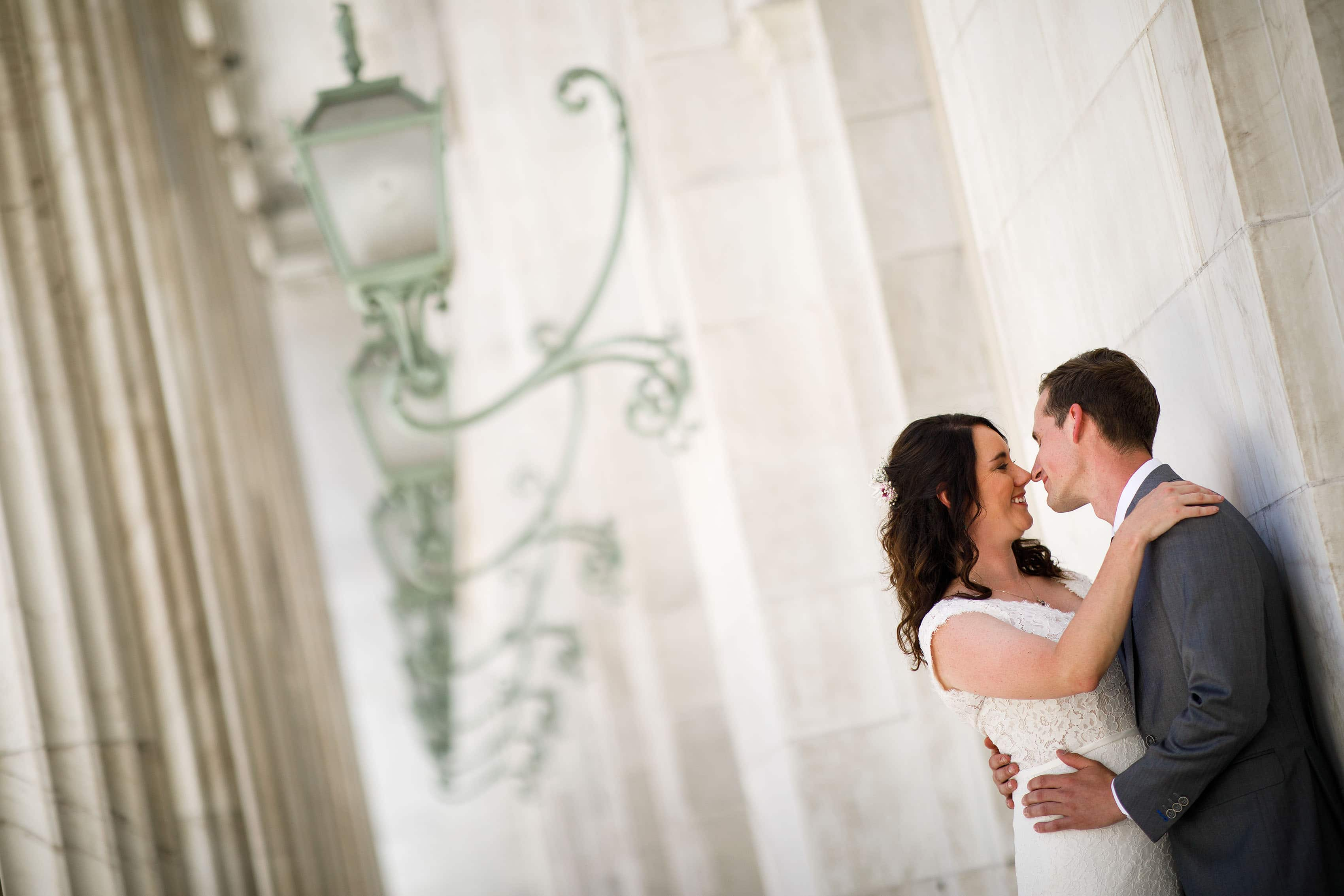 Meaghan and Matthew share a moment at the Tenth Circuit Court of Appeals in Denver on their wedding day